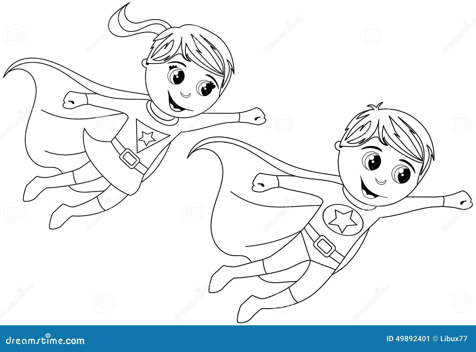 Gelukkige Superhero-Jong geitjejonge geitjes die Geïsoleerde Kleurende Pagina vliegen