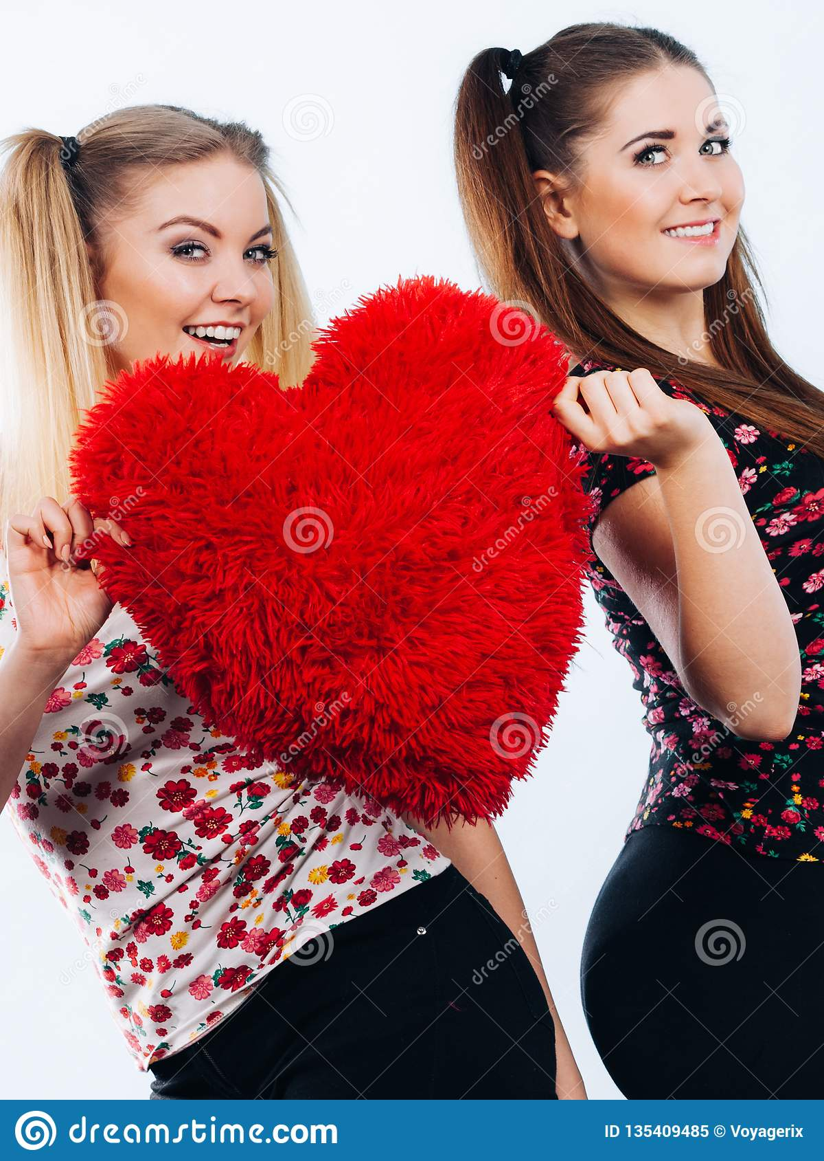 Gelukkige twee vrouwen die hart gevormd hoofdkussen houden