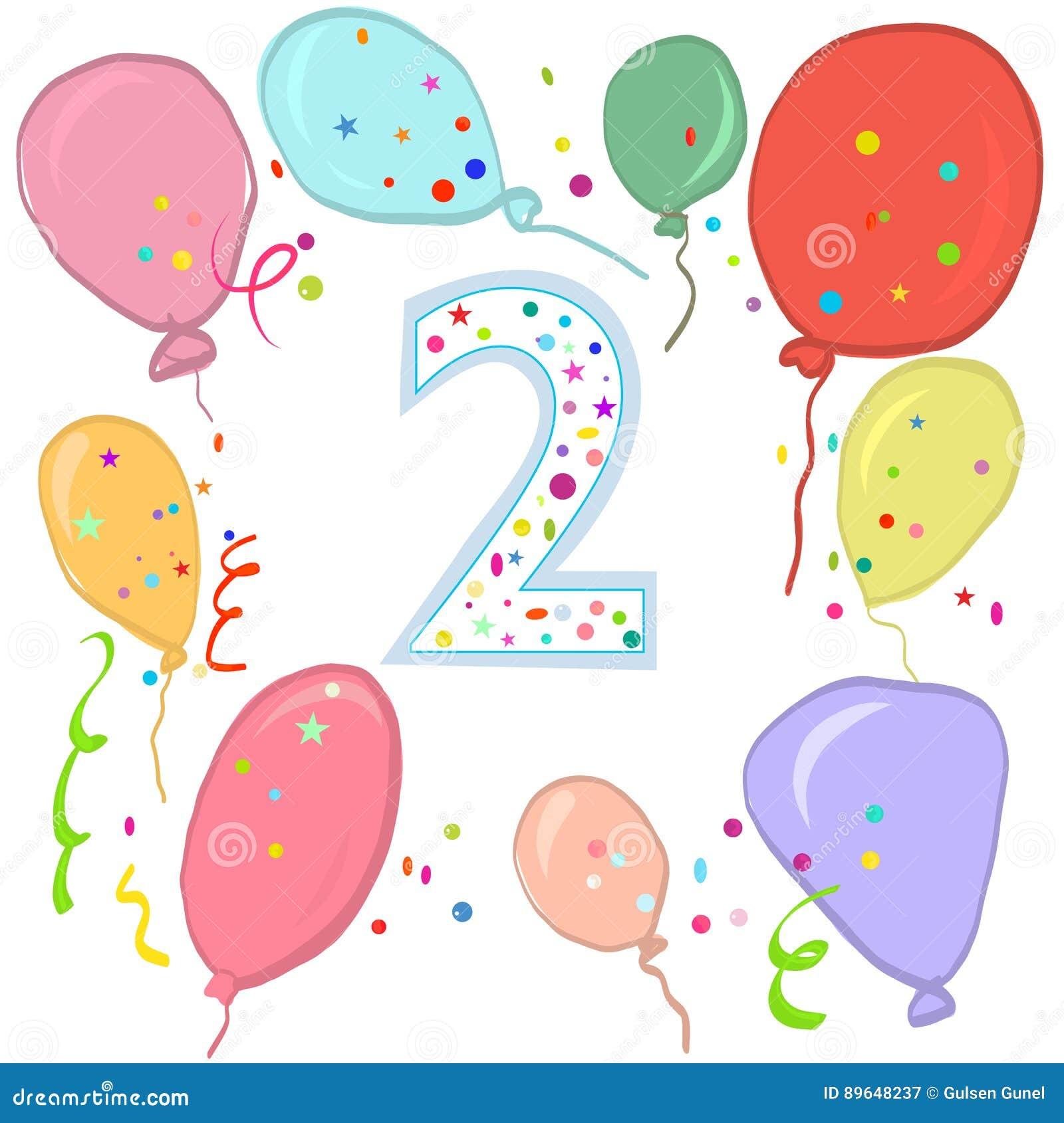 Tweede Verjaardag.Gelukkige Tweede Verjaardag De Kleurrijke Kaart Van De