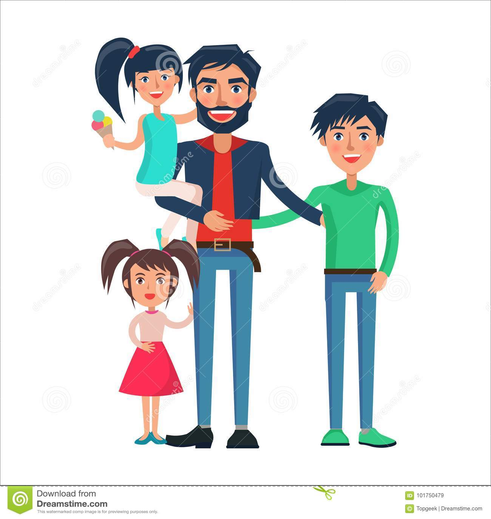 Gelukkige Vader van velen Kinderen Vectorillustratie