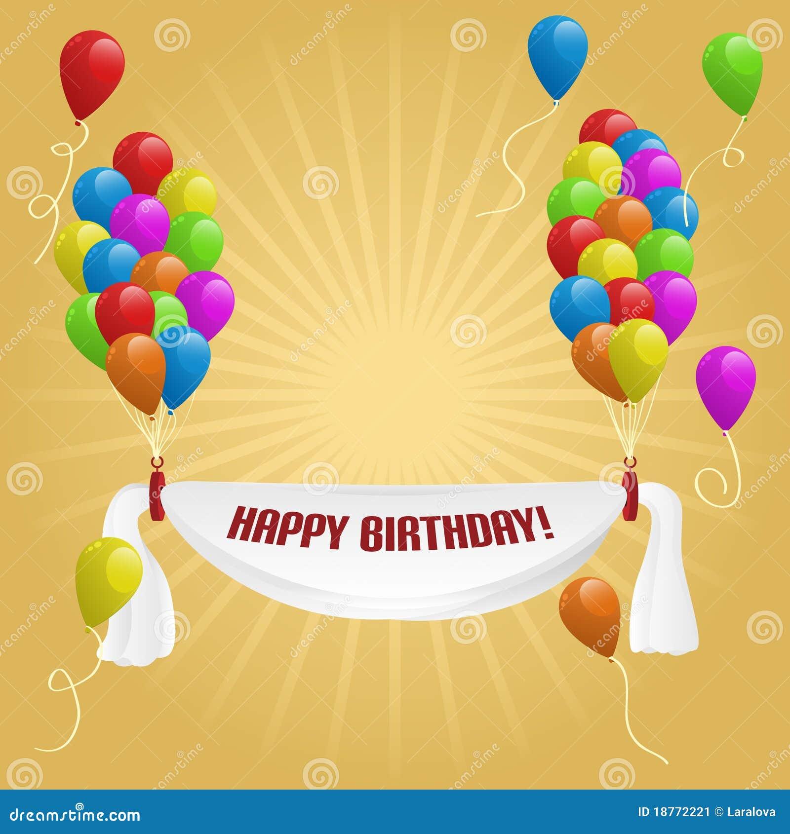 Gelukkige Verjaardag. Banner Met Ballons Vector
