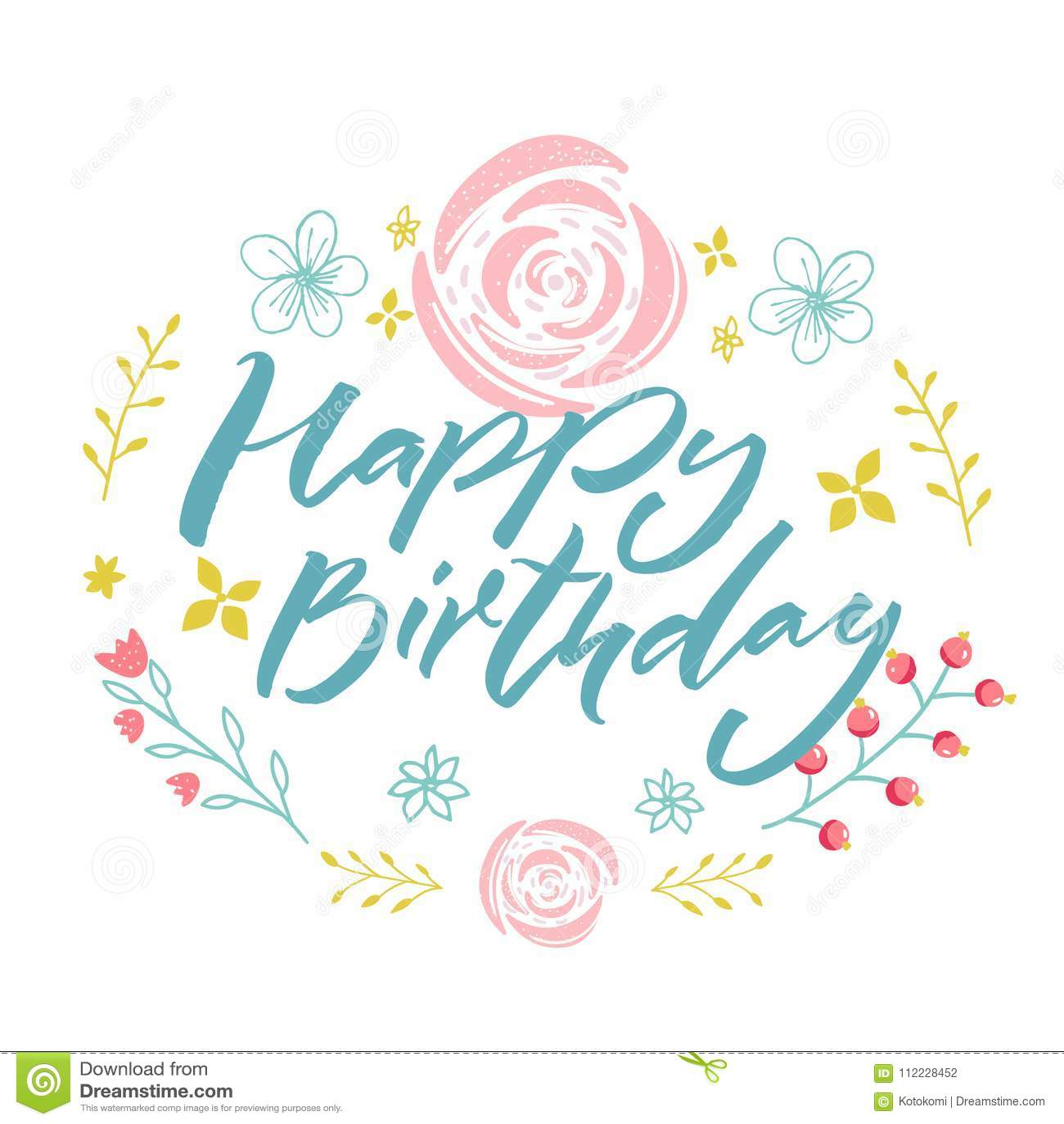Gelukkige Verjaardag Blauwe Tekst In Bloemenkroon Met Roze Bloemen