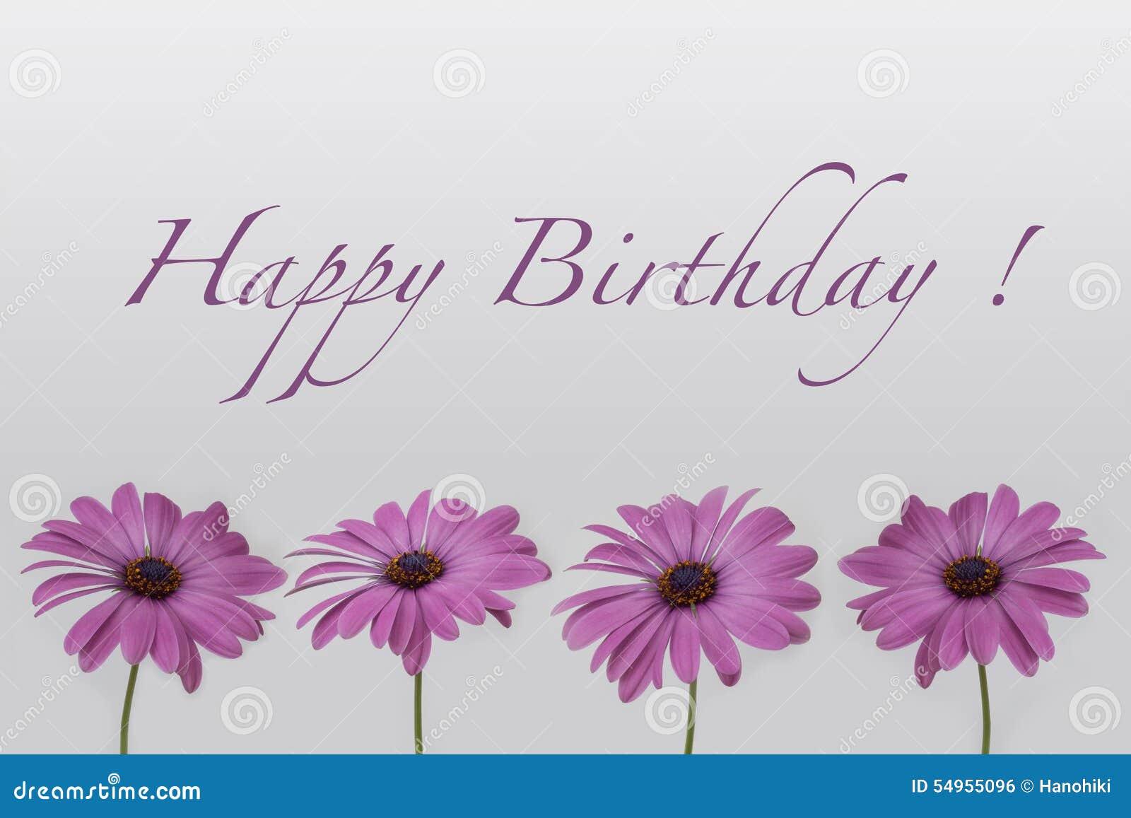 Gelukkige Verjaardag Bloemen Op Wit Stock Illustratie