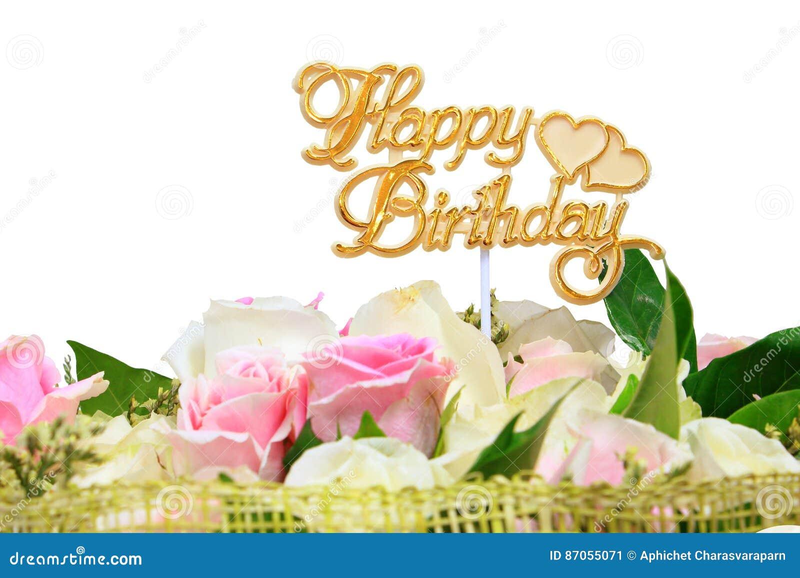 Bedwelming Gelukkige Verjaardag, Boeket Van Roze Bloemen Stock Afbeelding &US16