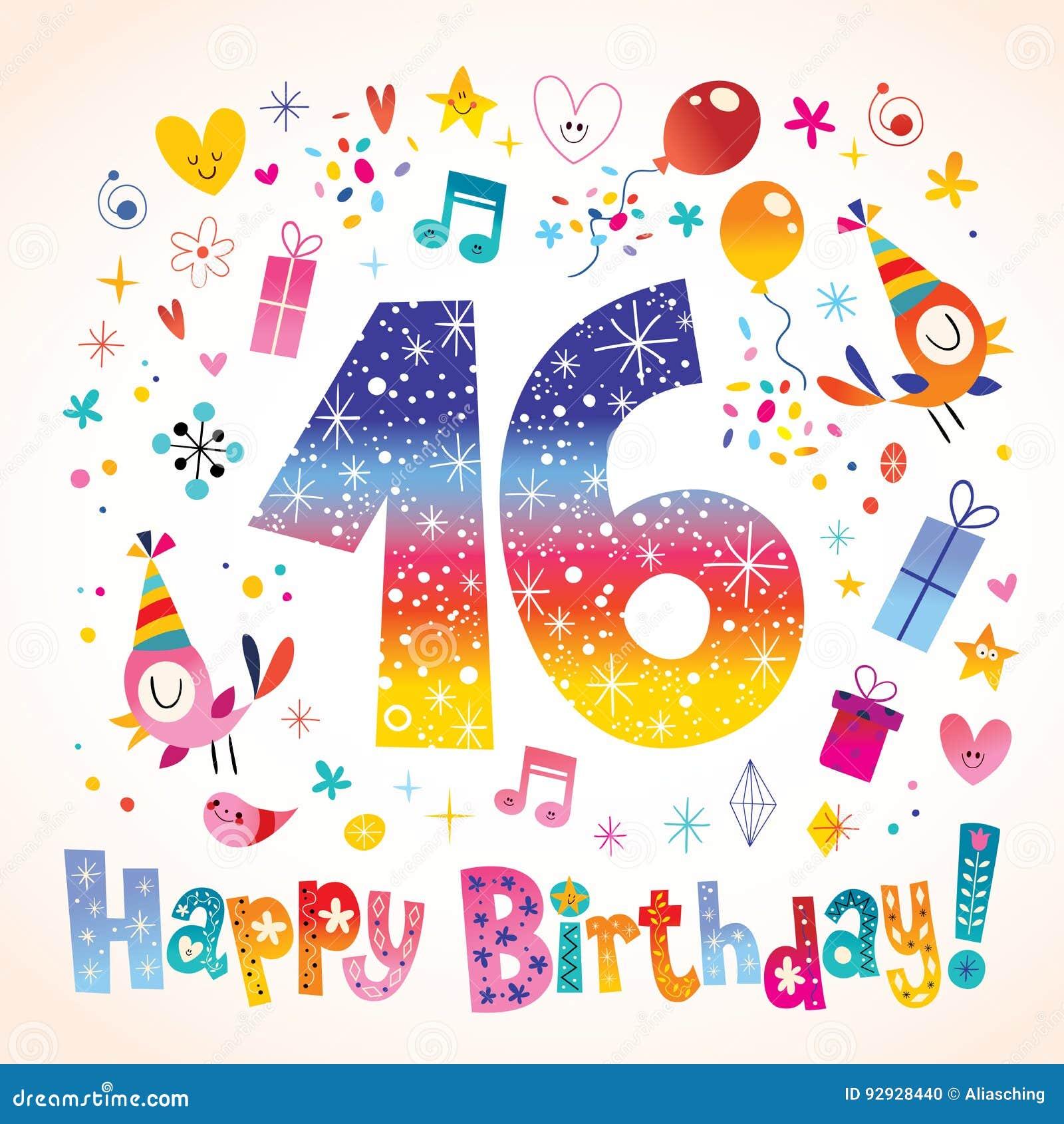 Gelukkige Verjaardag 16 Jaar Vector Illustratie Illustratie