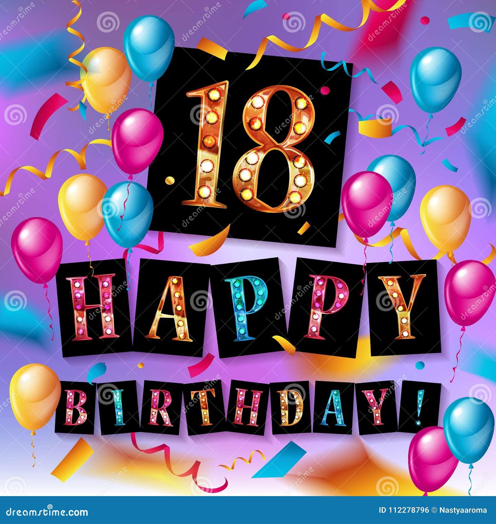 verjaardag 18 jaar Gelukkige Verjaardag 18 Jaar Verjaardags Stock Illustratie  verjaardag 18 jaar