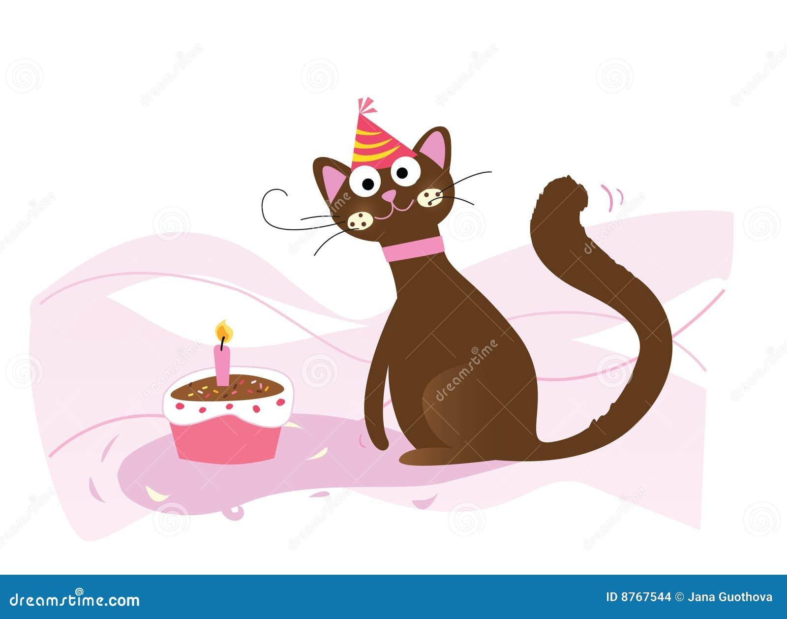 Gelukkige Verjaardag Kat Vector Illustratie Illustratie Bestaande