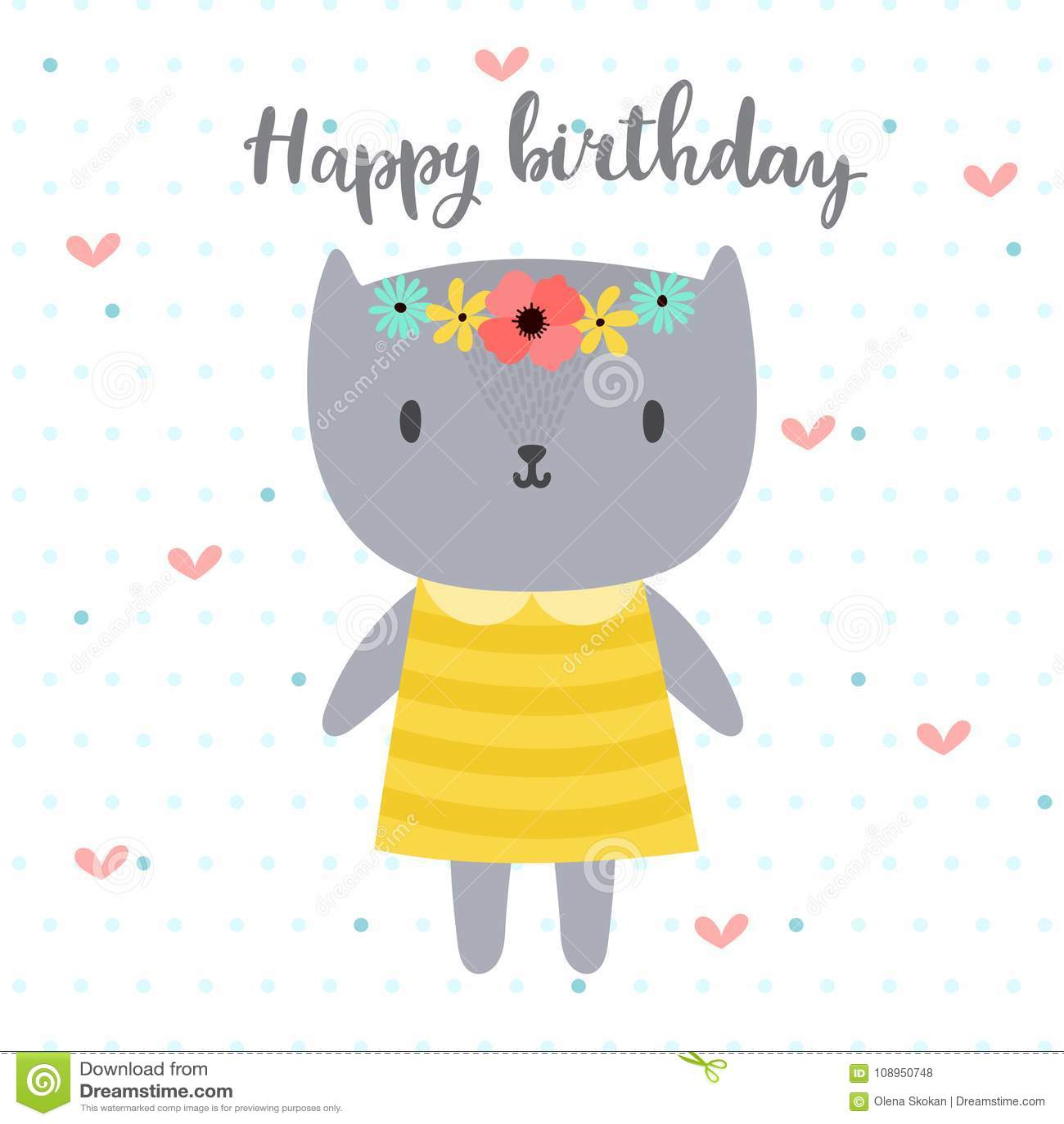 Gelukkige Verjaardag Leuke Groetkaart Met Grappig Weinig Kat Vector