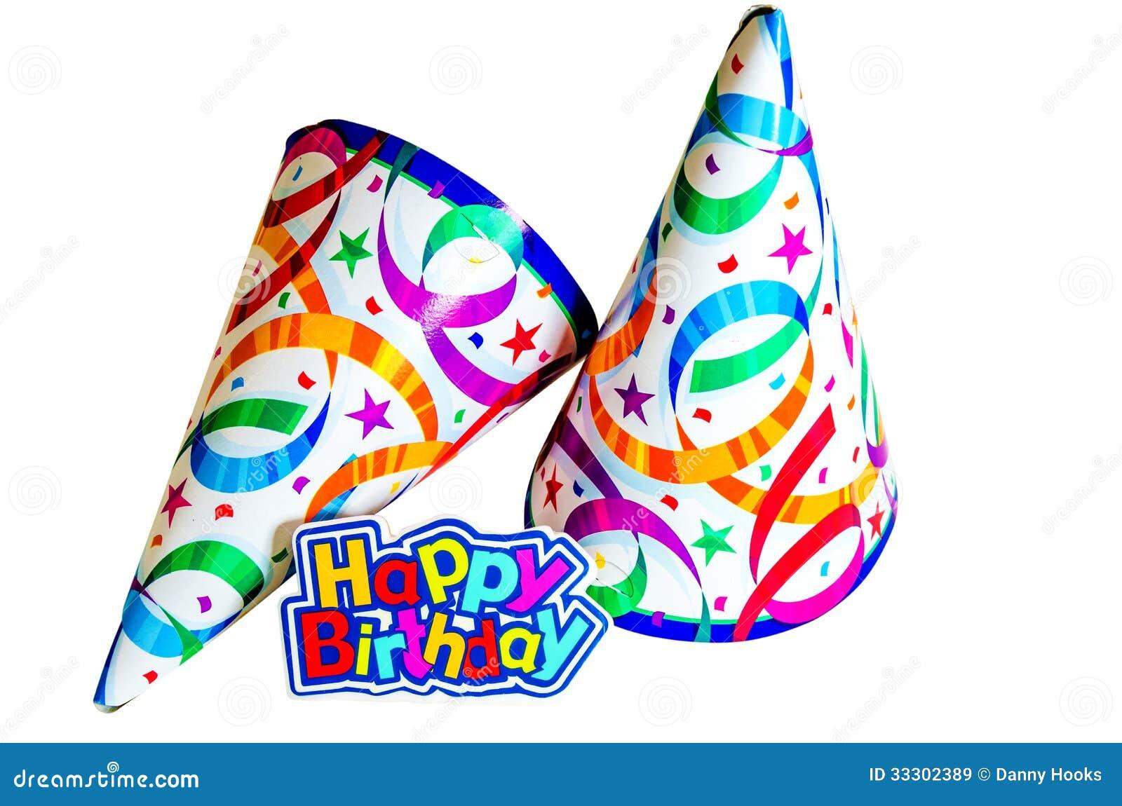 Iets Nieuws Gelukkige Verjaardag Met Hoeden Stock Afbeelding - Afbeelding #BF66
