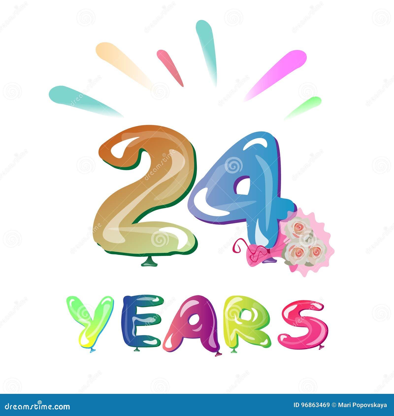 Gelukkige Verjaardag Nummer 24 Vector Illustratie Illustratie