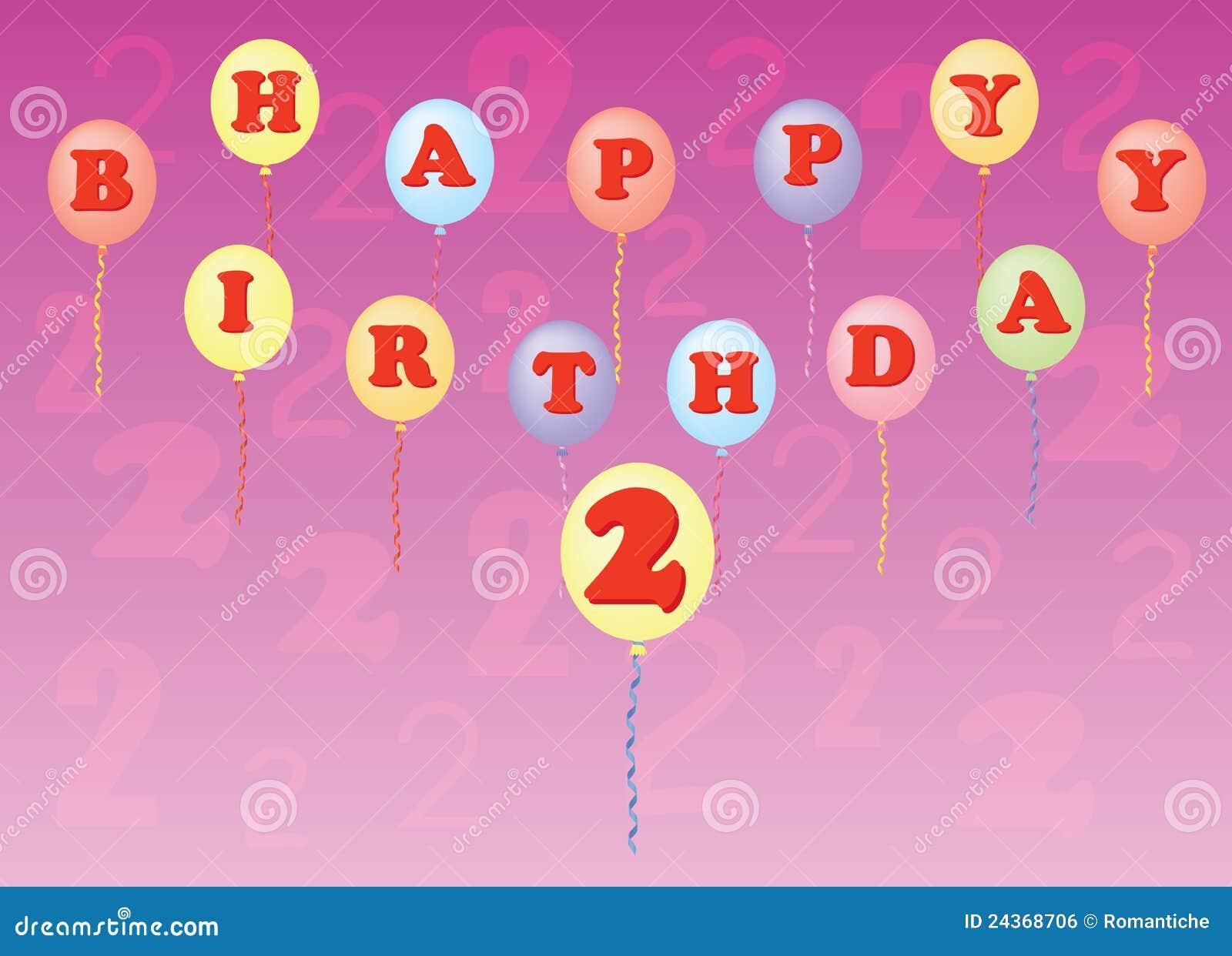 Gelukkige Verjaardag Twee Jaar Vector Illustratie Illustratie