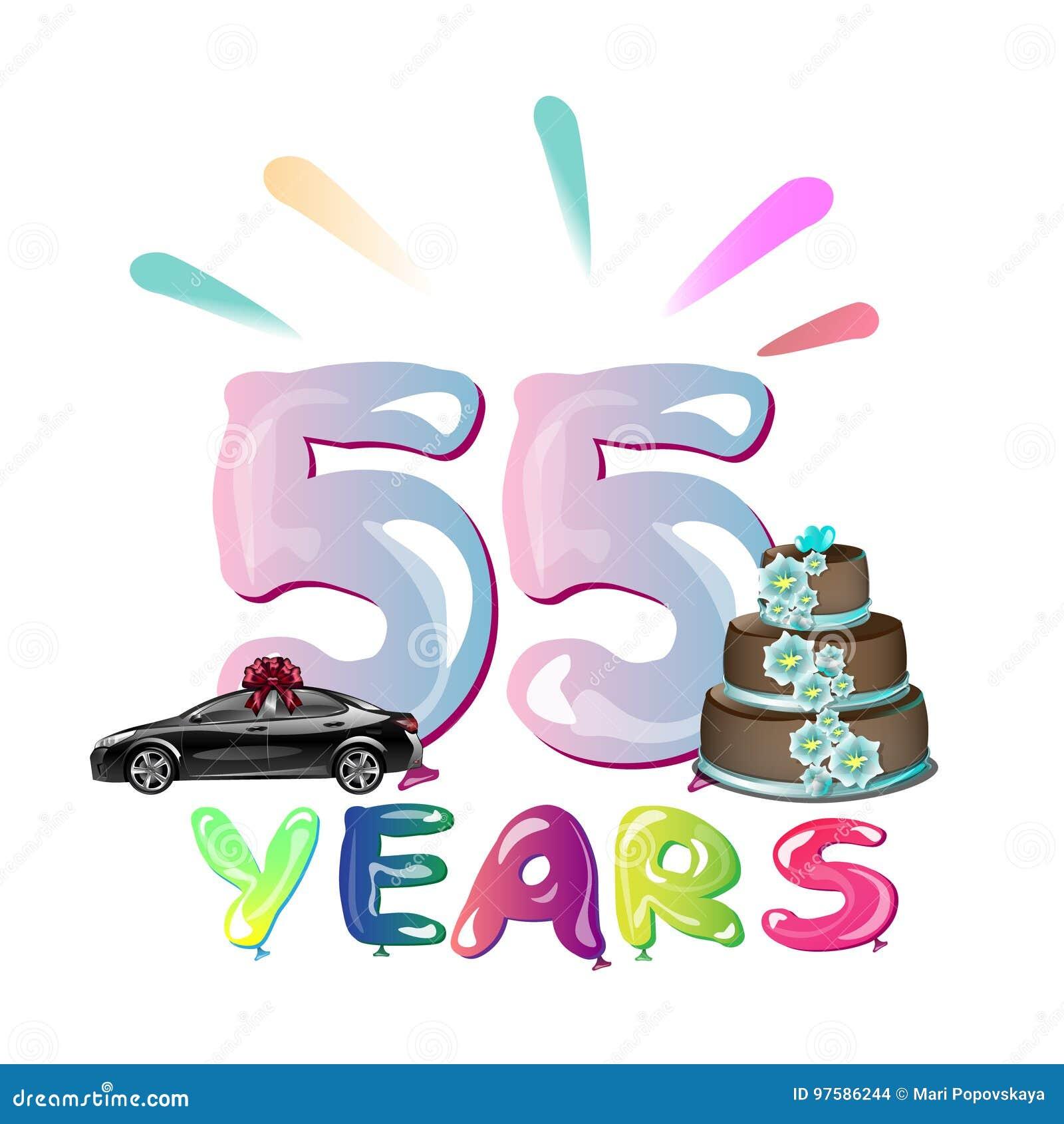 Gelukkige Verjaardag Vijfenvijftig 55 Jaar Vector Illustratie