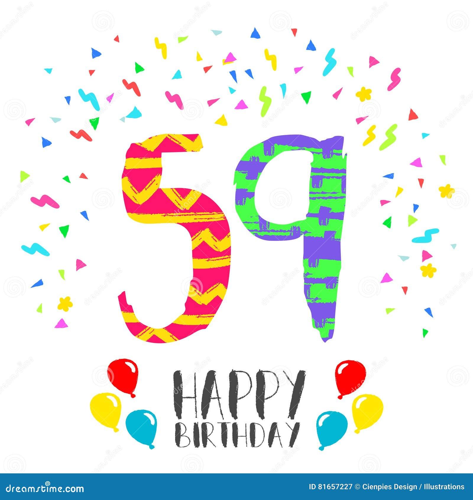Gelukkige Verjaardag Voor De Uitnodigingskaart Van De 59 Jaarpartij