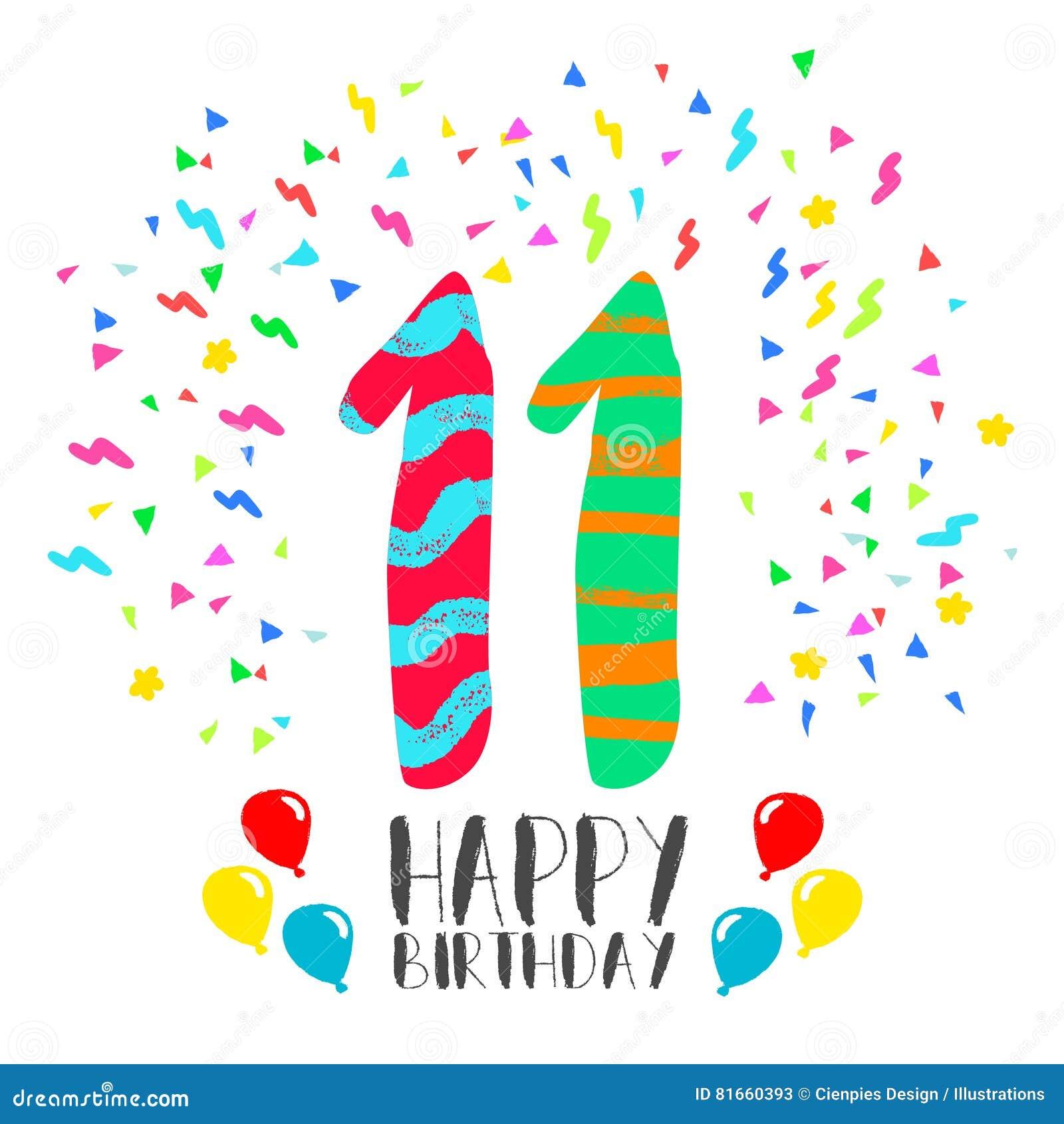 Welp Gelukkige Verjaardag Voor De Uitnodigingskaart Van De 11 VQ-35