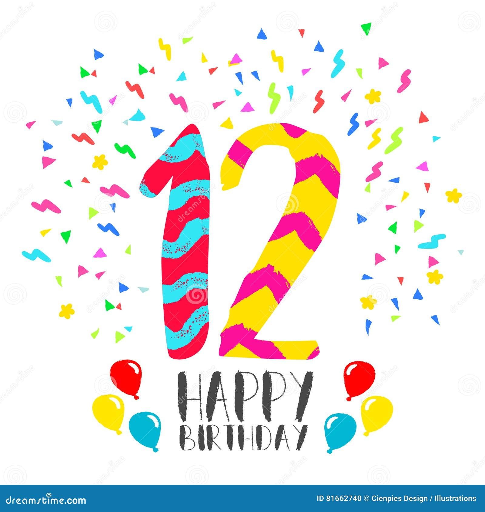 Wonderlijk Gelukkige Verjaardag Voor De Uitnodigingskaart Van De 12 GW-85