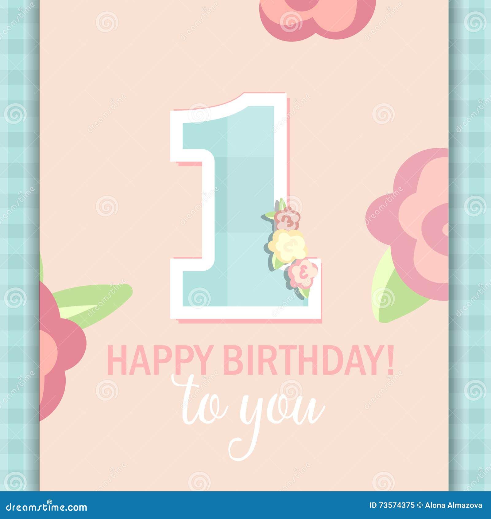 Gelukkige Verjaardag Voor Meisje 1 Jaar Vector Illustratie