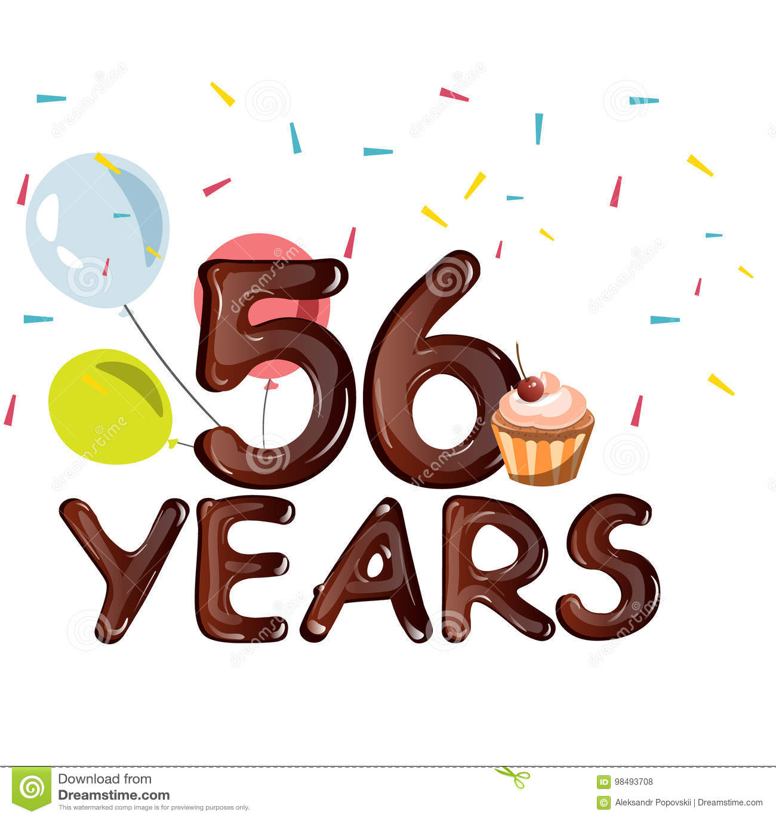 Verjaardag 56.Gelukkige Verjaardag Zesenvijftig 56 Jaar Vector Illustratie