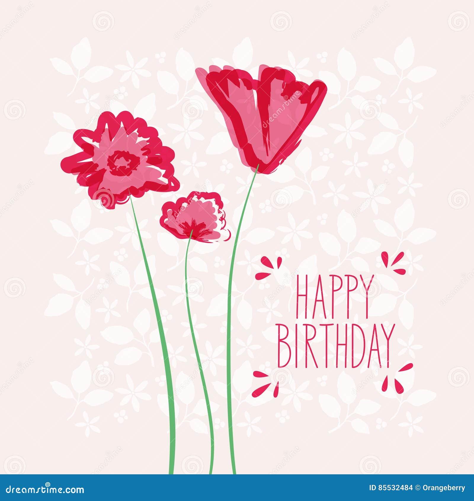 Gelukkige Verjaardagskaart Met Bloemen Vector Illustratie