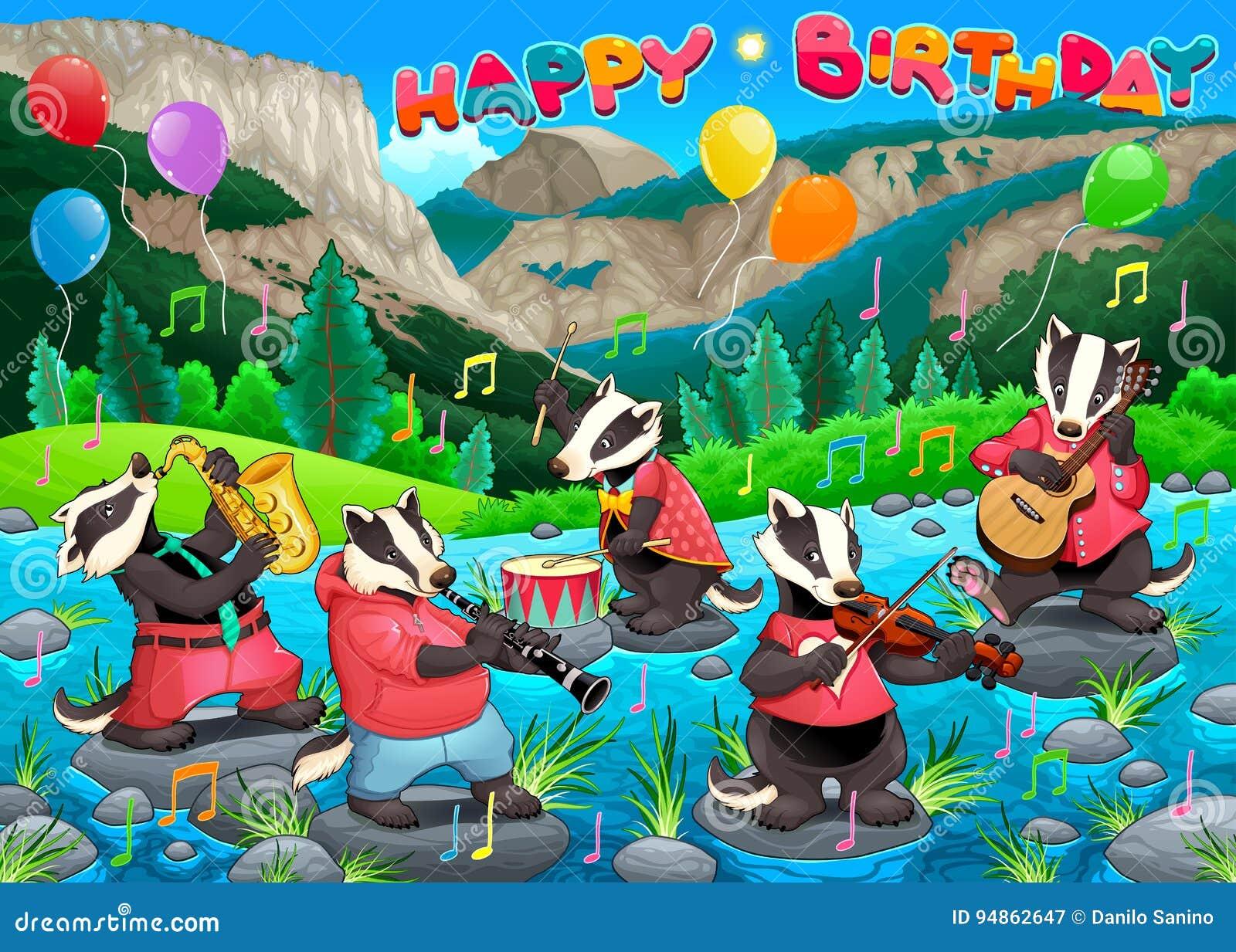 Gelukkige Verjaardagskaart Met Grappige Dassen Die Muziek