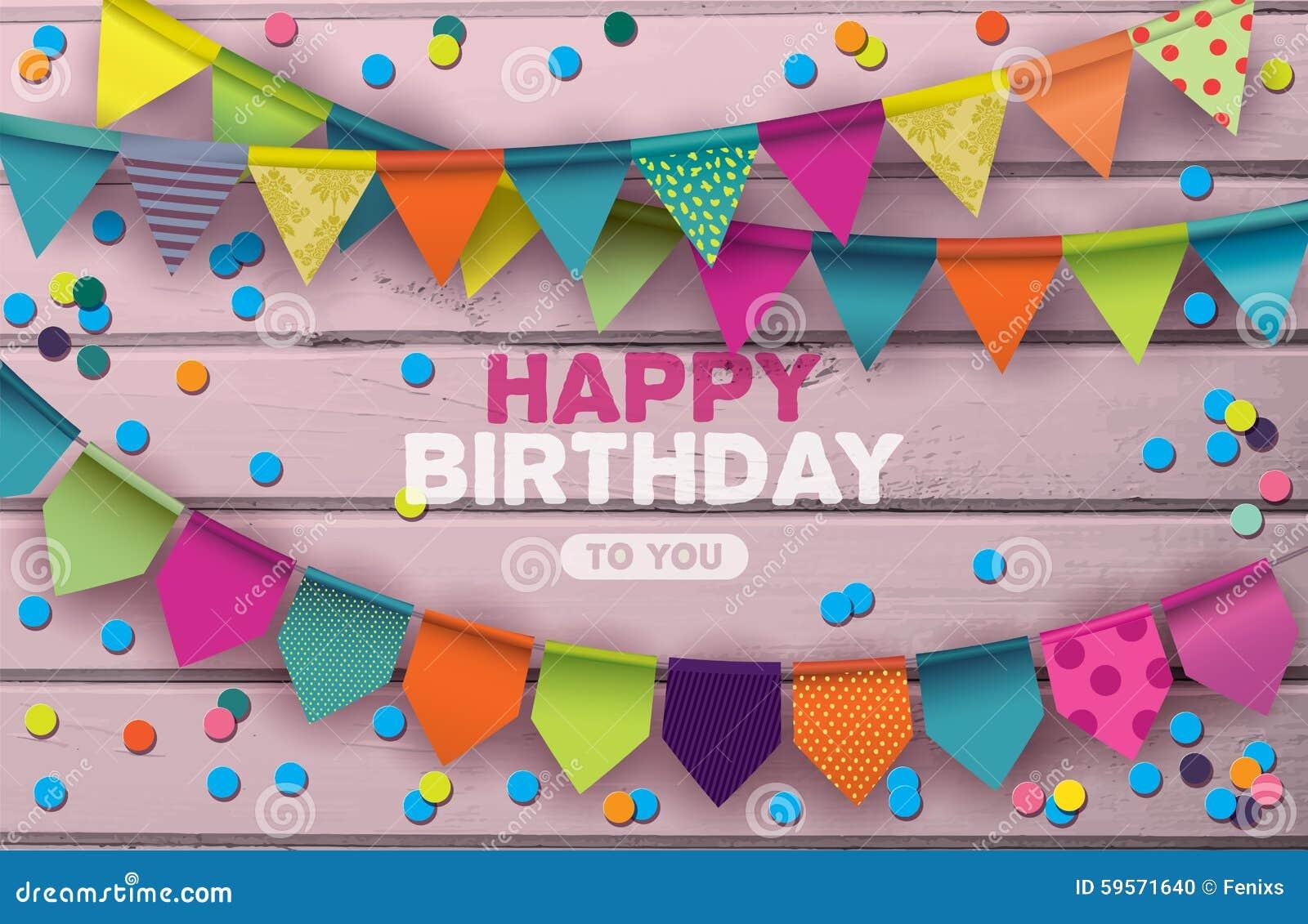 Gelukkige Verjaardagskaart met kleurrijke document slingers en confettien