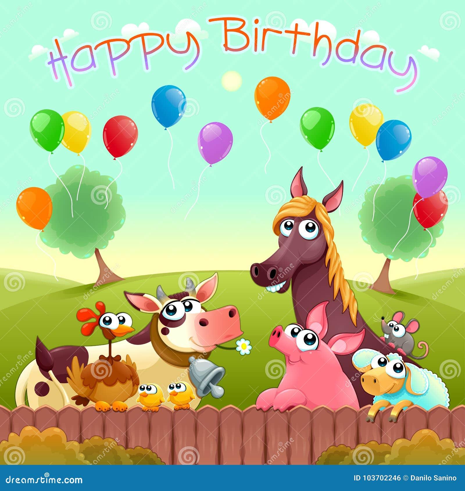 Gelukkige Verjaardagskaart met leuke landbouwbedrijfdieren in het platteland
