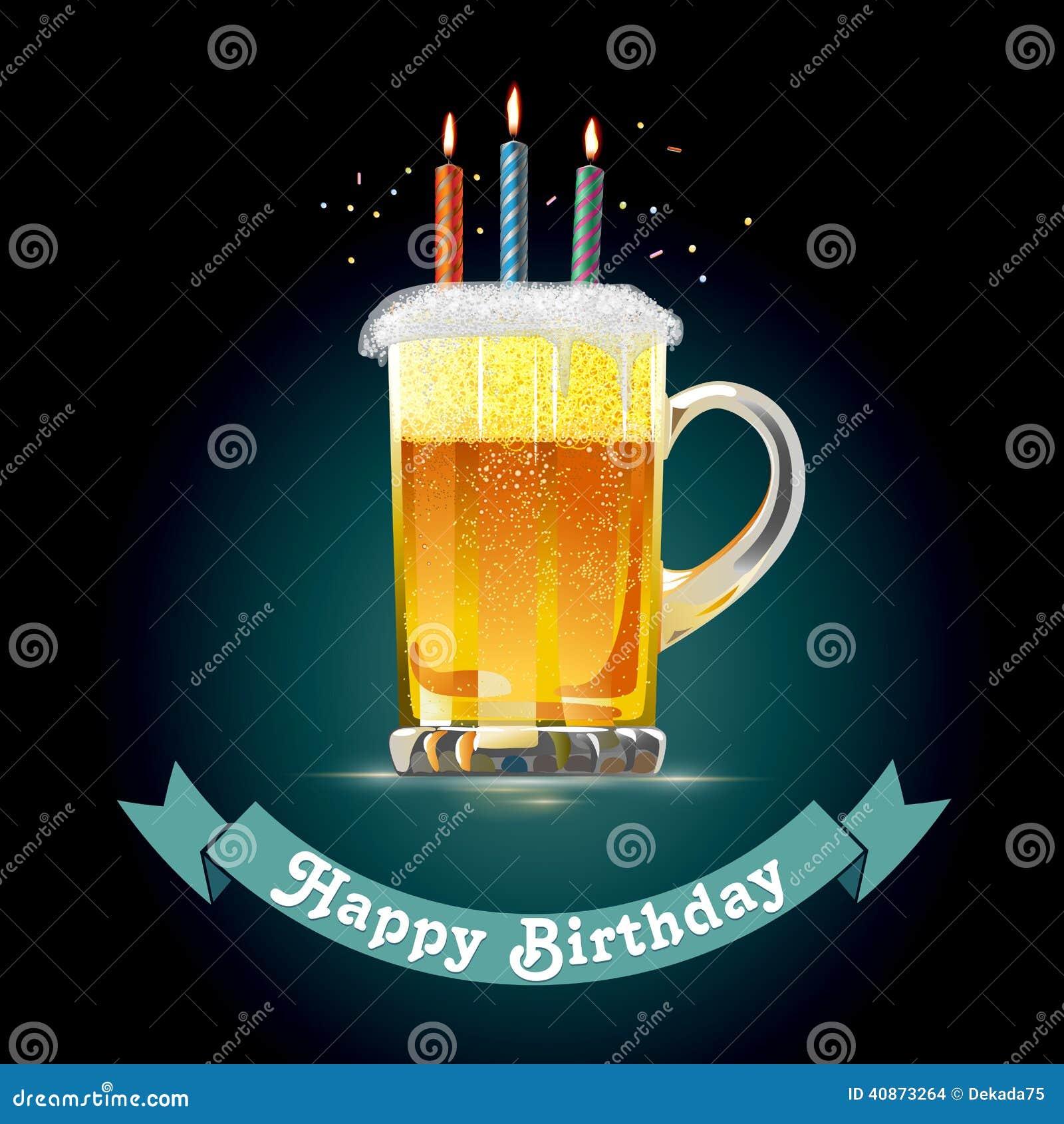 Gelukkige Verjaardagskaart Voor Een Persoon Die Van Bier Houdt