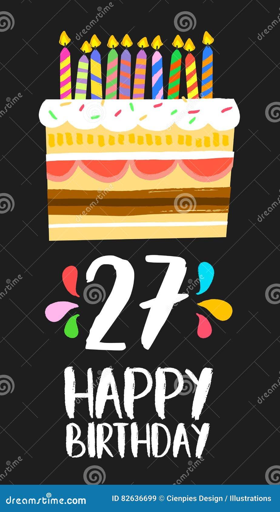 Gelukkige Verjaardagskaart 27 Zevenentwintig Jaarcake Vector