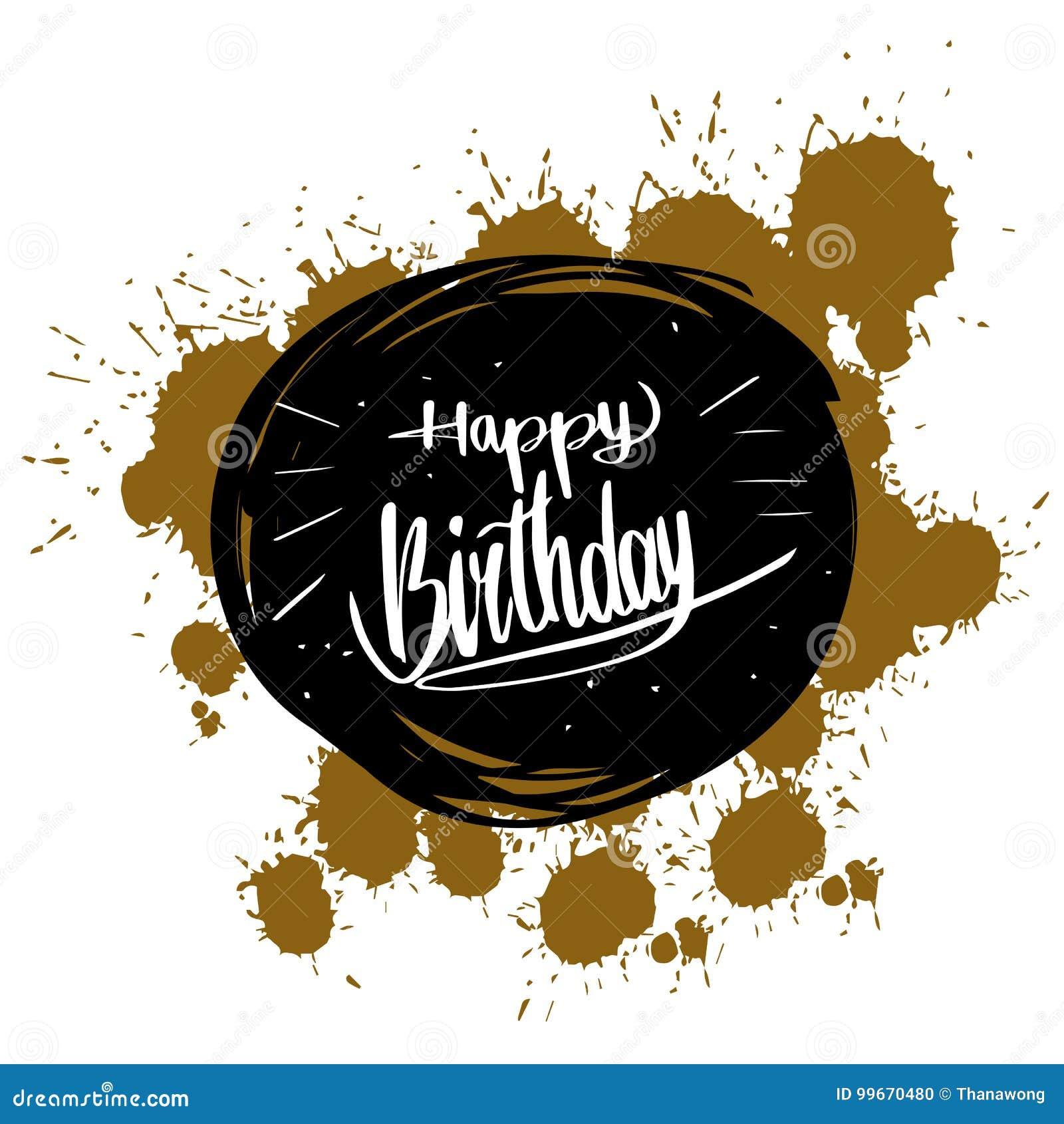 Gelukkige verjaardagskalligrafie, de Vectorkaart van de illustratiegroet D