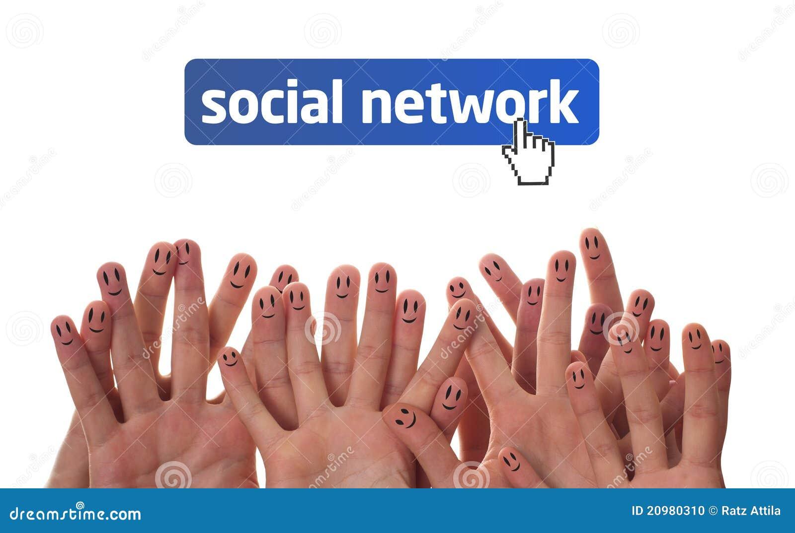 Gelukkige vingergezichten als sociaal netwerk
