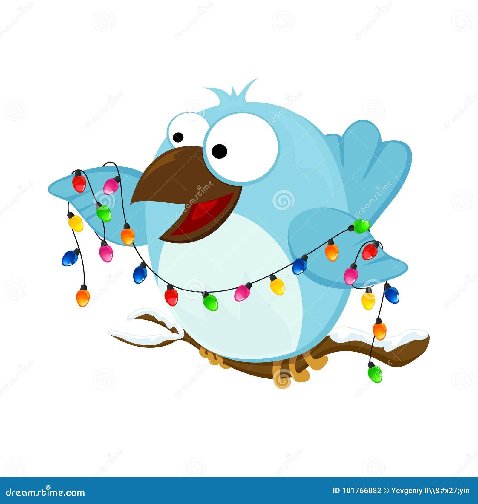 Gelukkige vogel met Kerstmislicht