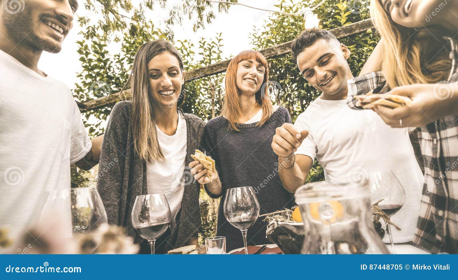 Gelukkige vrienden die pret hebben die rode wijn drinken die bij tuinpartij eten