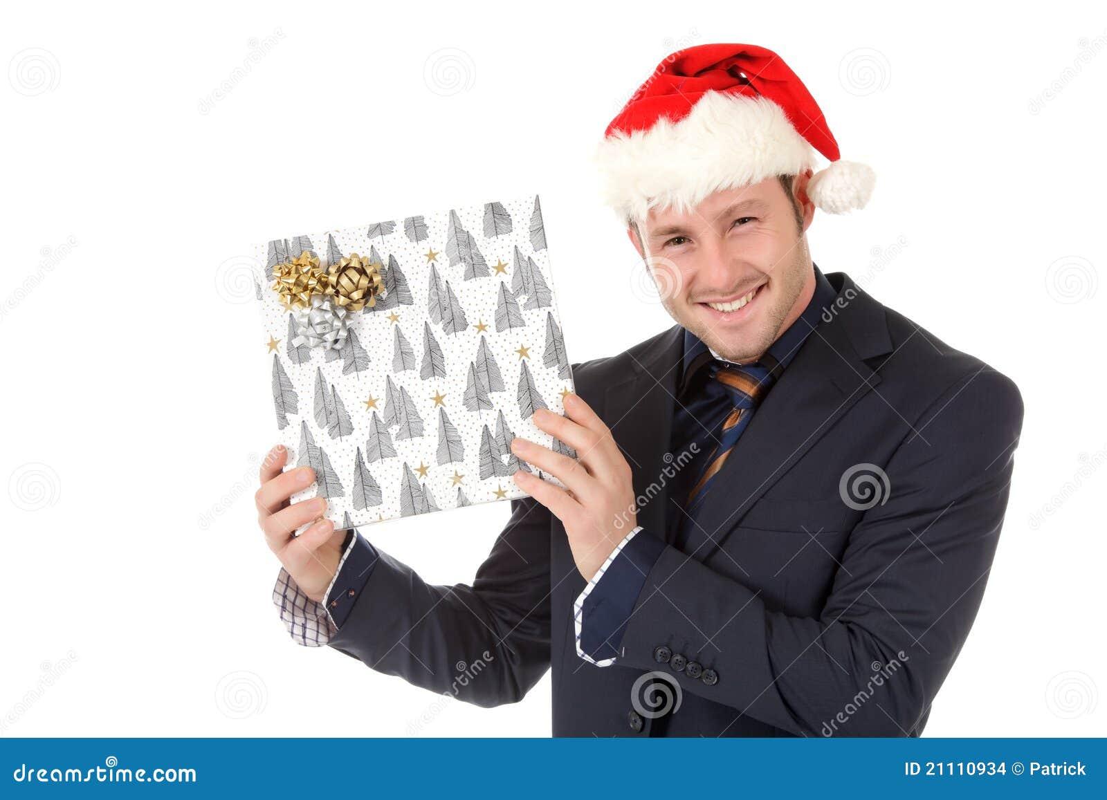 Gelukkige zakenman met santahoed, gift