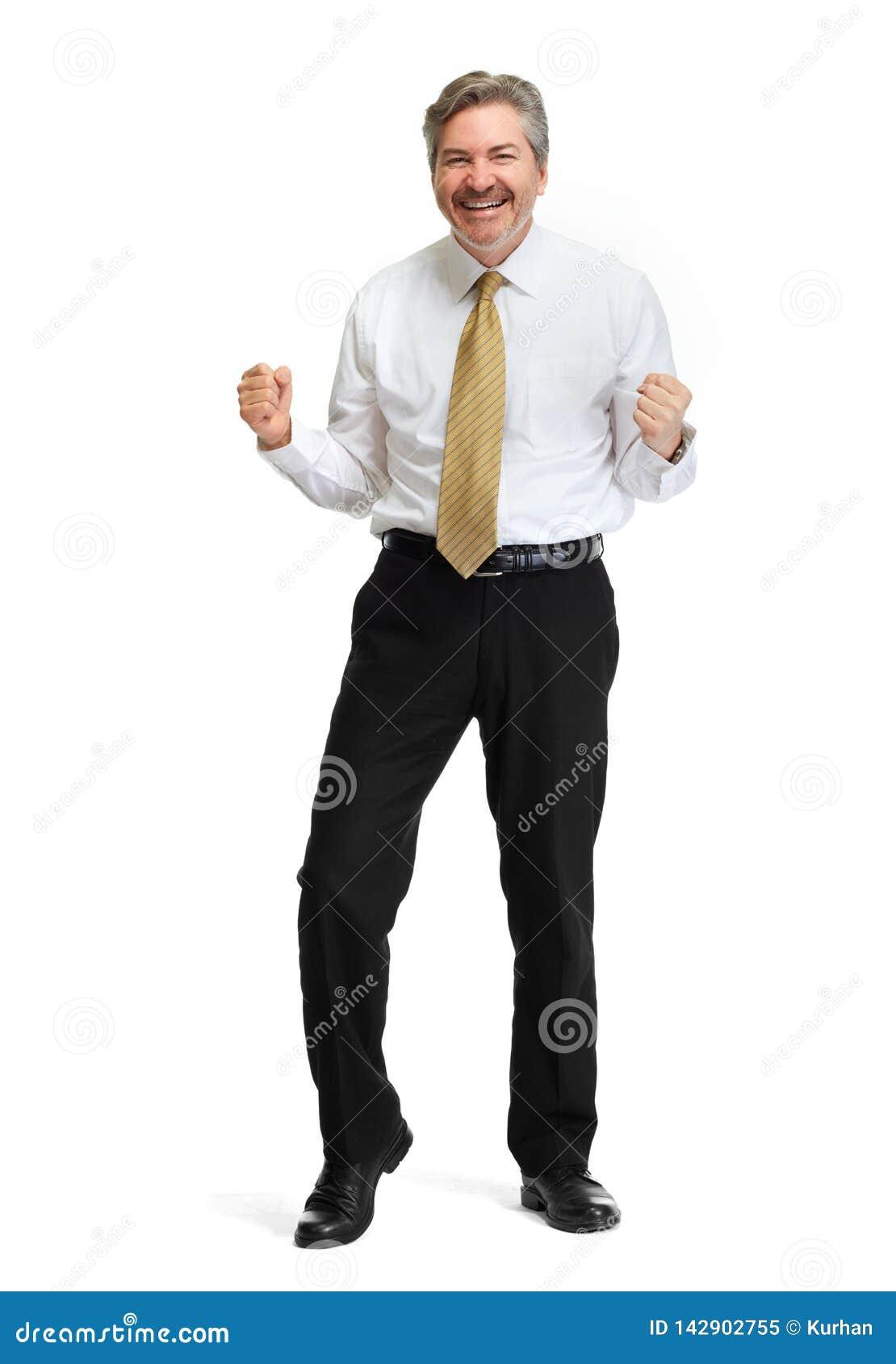 Gelukkige zakenman op witte achtergrond