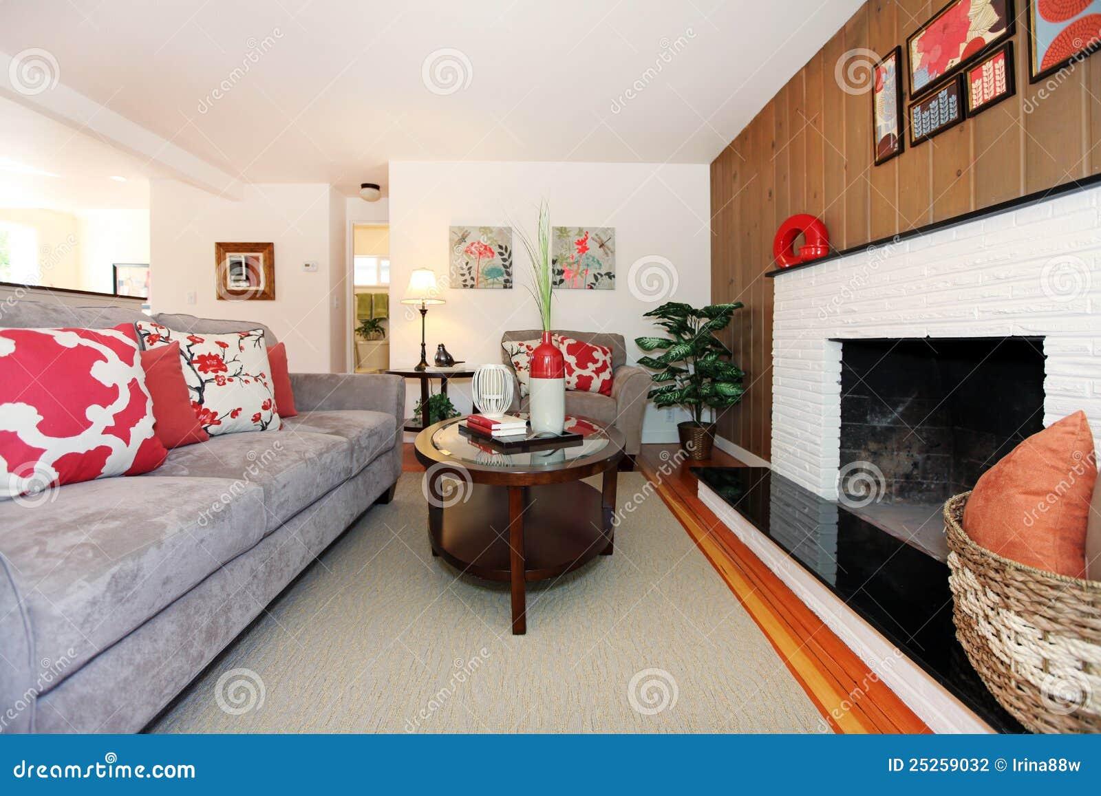 gem tliche sch ne innenarchitektur des wohnzimmers stockfotografie bild 25259032. Black Bedroom Furniture Sets. Home Design Ideas