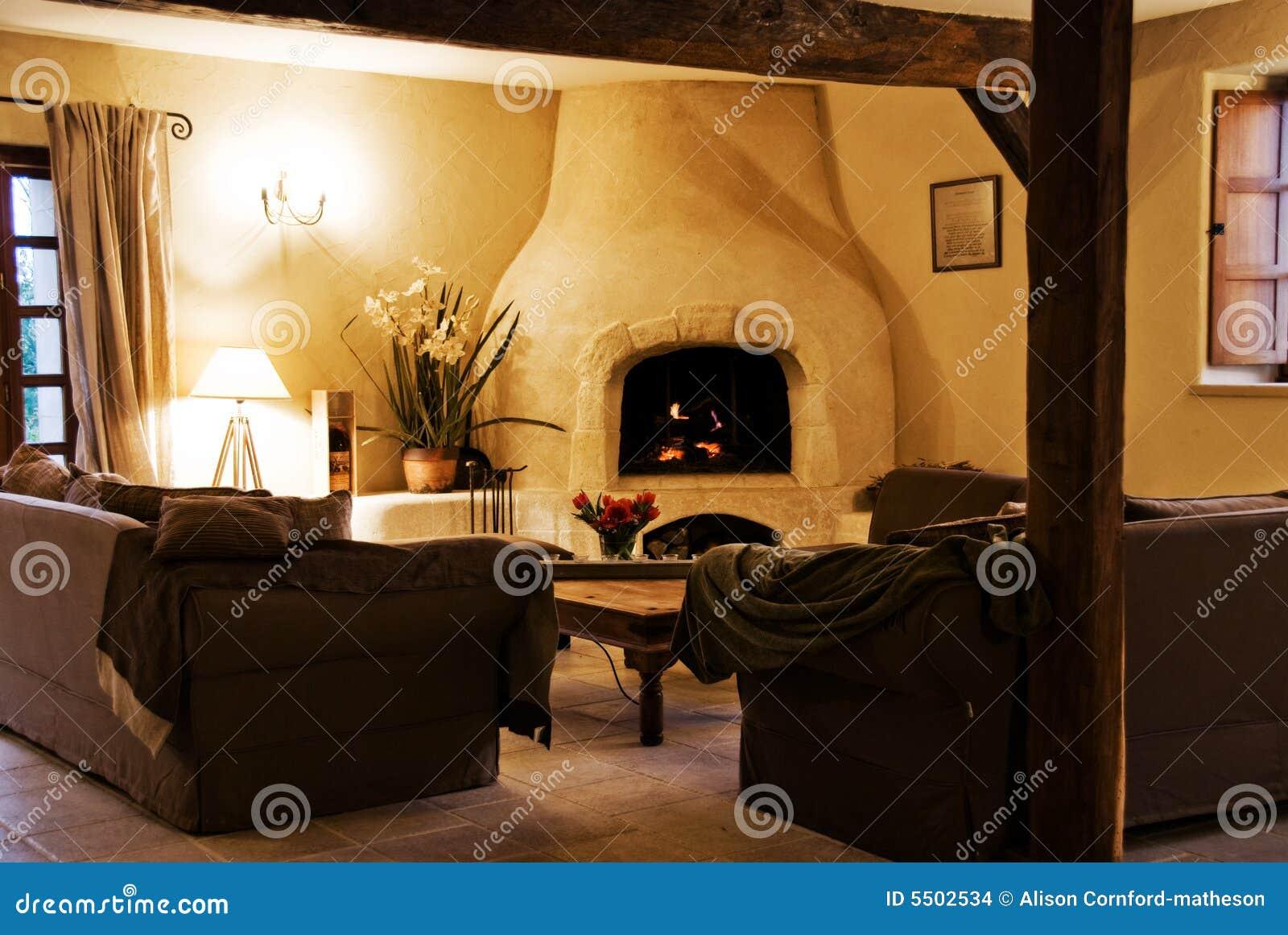 Gemutliches Rustikales Wohnzimmer Stockfoto Bild Von Null Innen