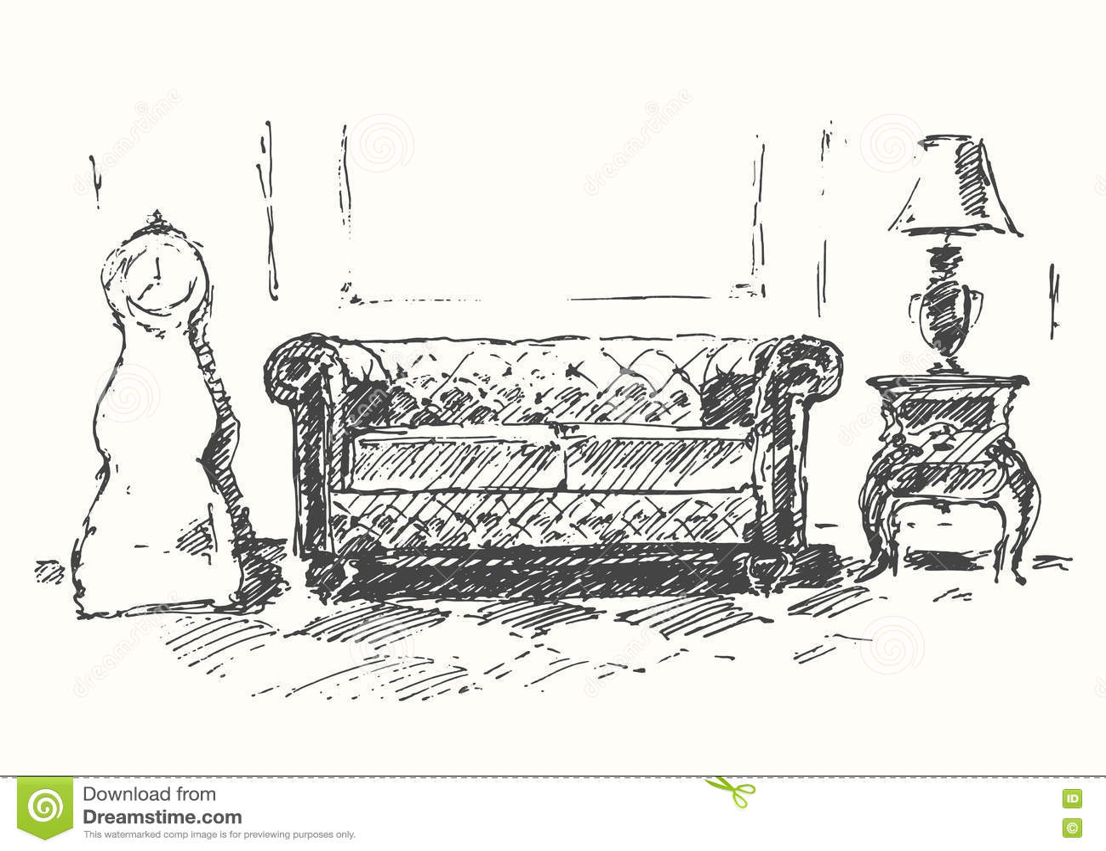 Sofa gezeichnet  Gemütliches Vektor-Illustrationsskizze Des Raumes Sofa Gezeichnete ...