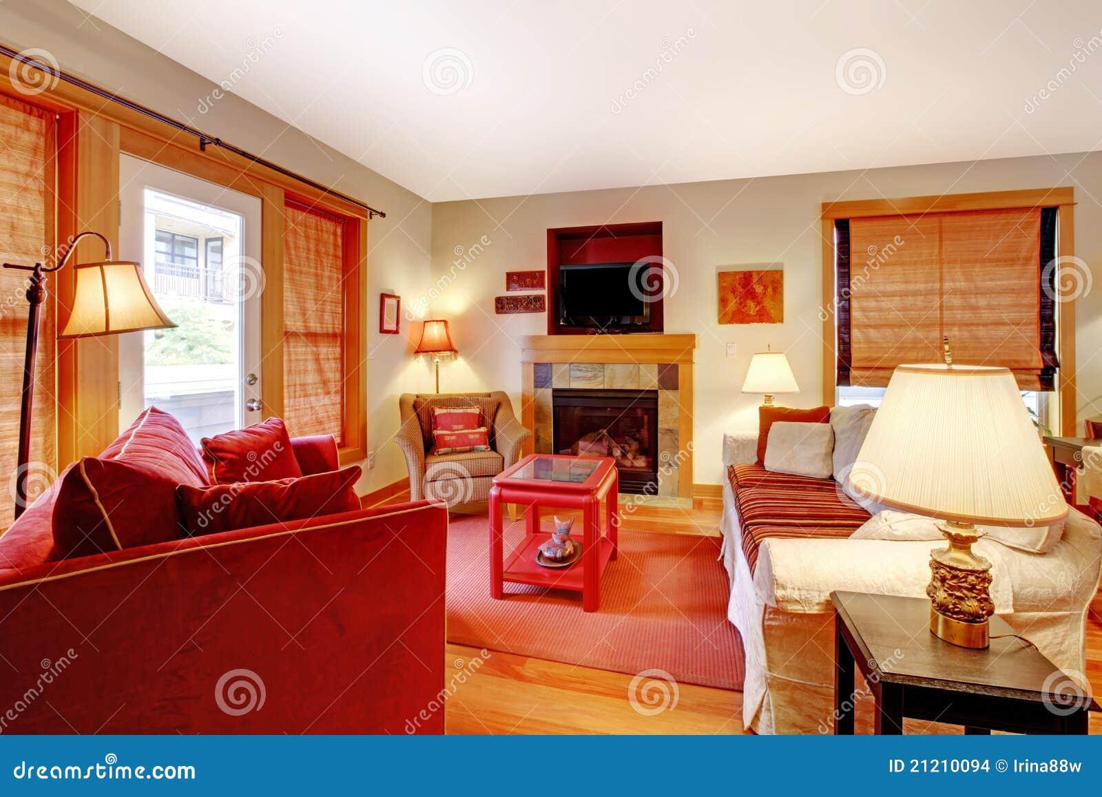 wohnzimmer mit rotem sofa. Black Bedroom Furniture Sets. Home Design Ideas