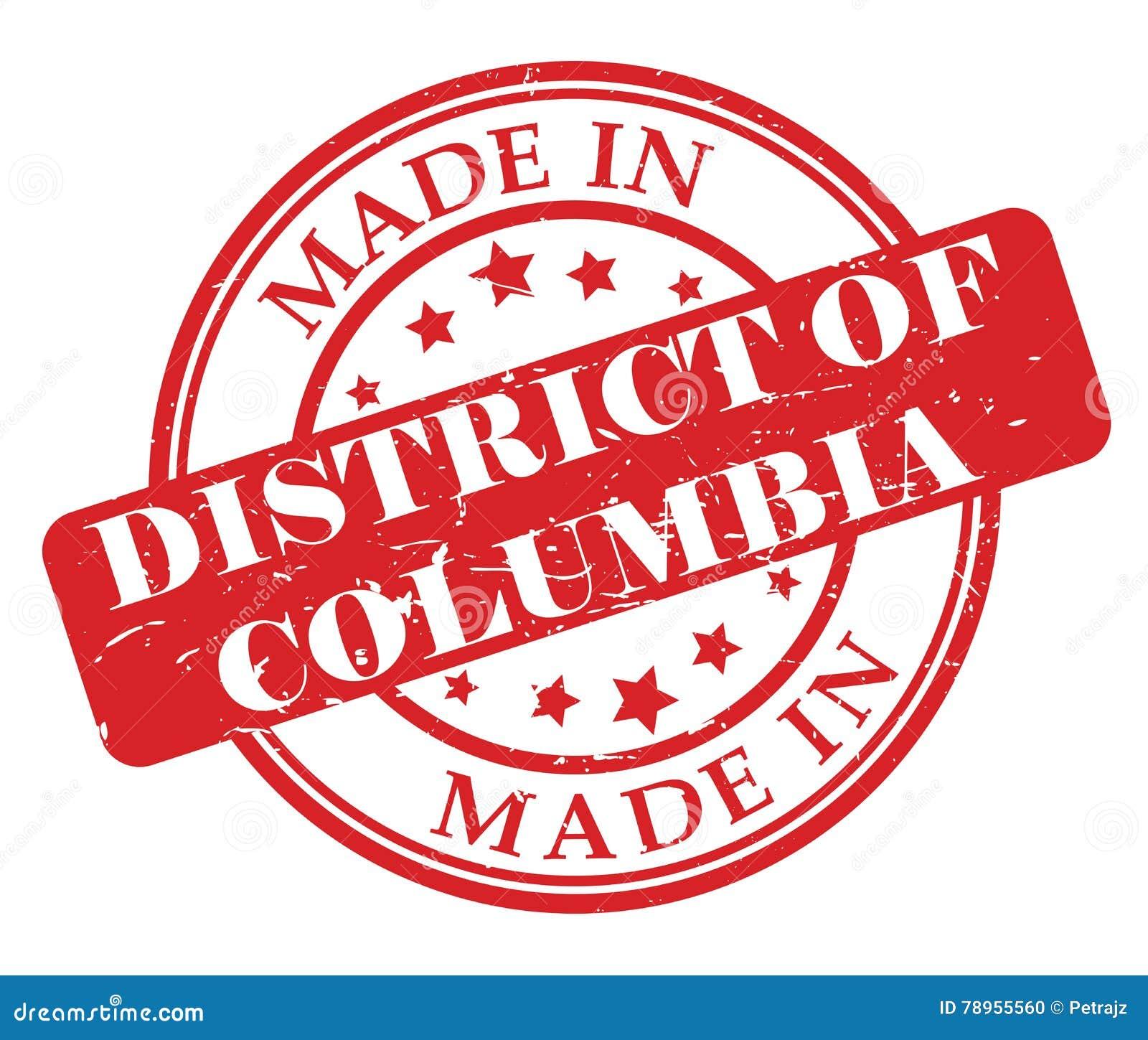 Gemaakt in District van de zegel van Colombia