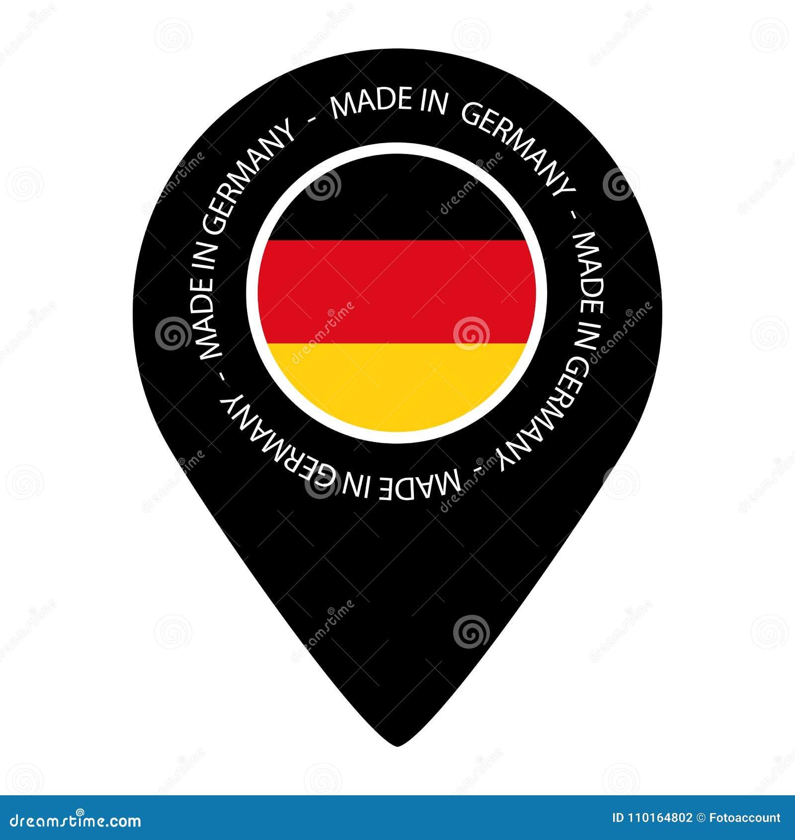 Gemaakt in Duitsland - de Vlag van de Kaartwijzer - VectordieIllustratie - op Wit wordt geïsoleerd