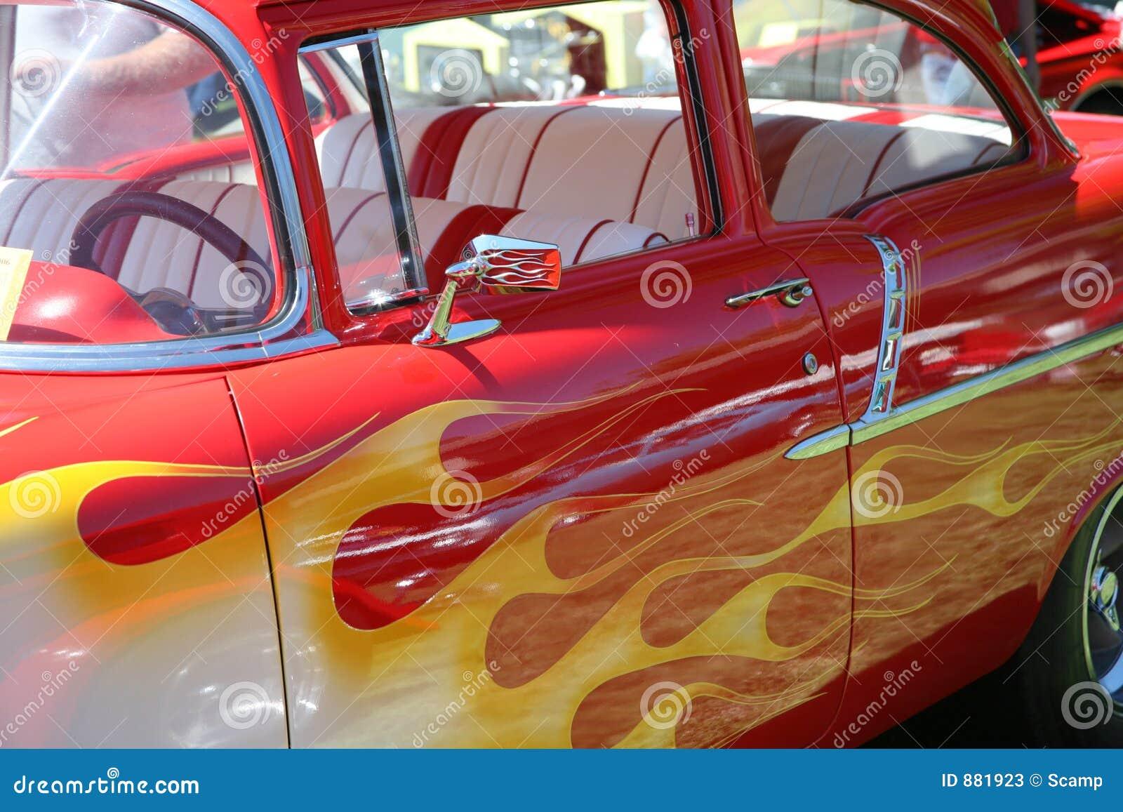gemalte flammen auf auto stockbild bild von klassisch 881923. Black Bedroom Furniture Sets. Home Design Ideas