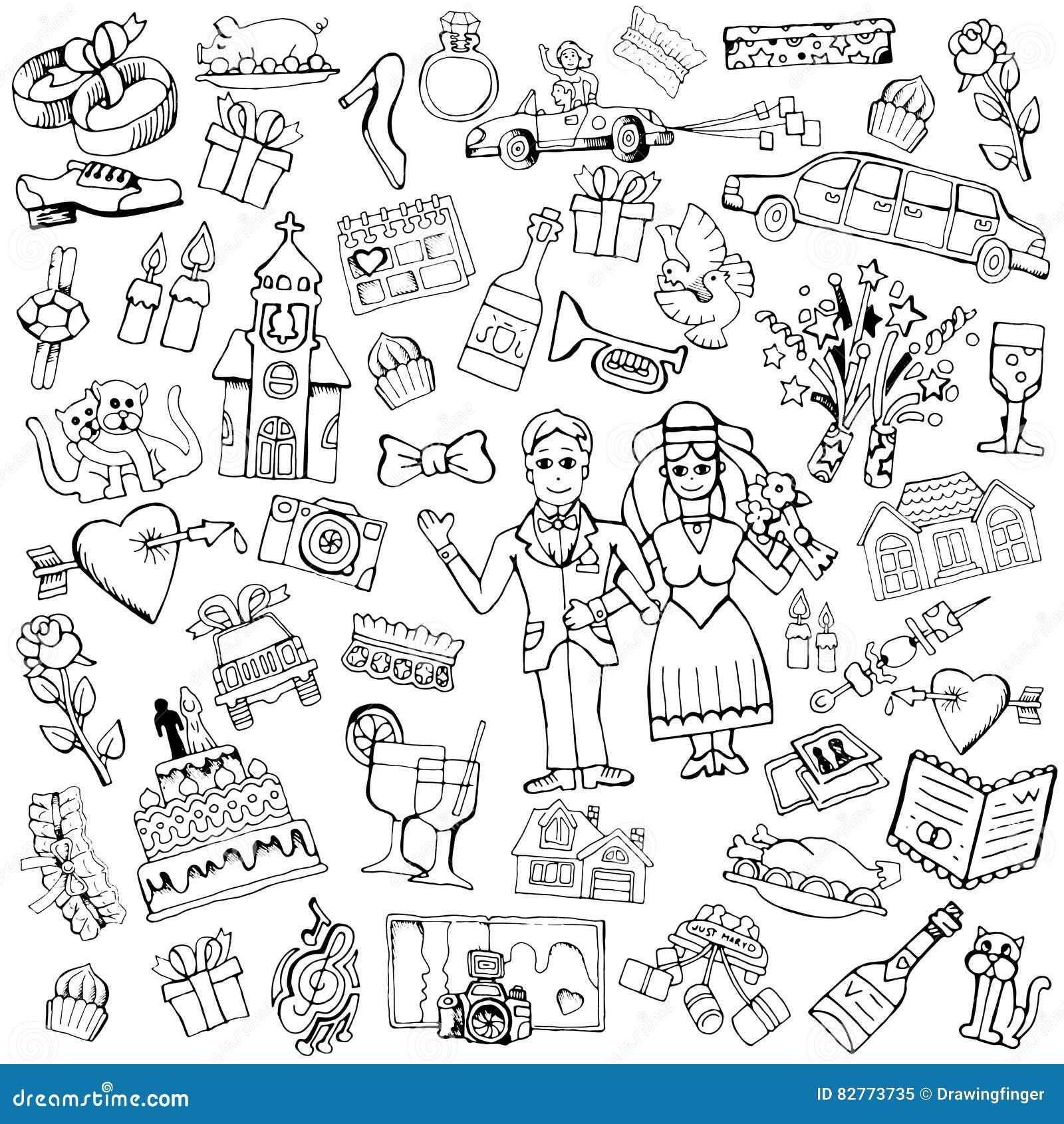 Gemalte Hande Der Hochzeit Bilder Stock Abbildung Illustration Von