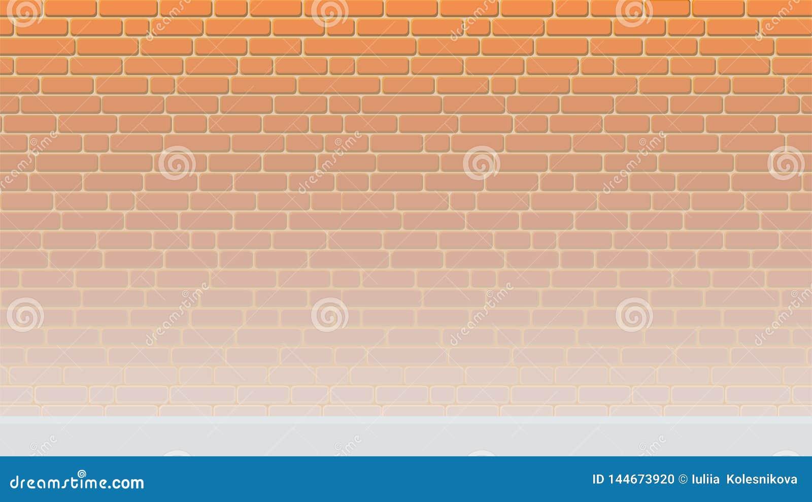 Gemalter Backsteinmauerhintergrund erleichtert zum Boden