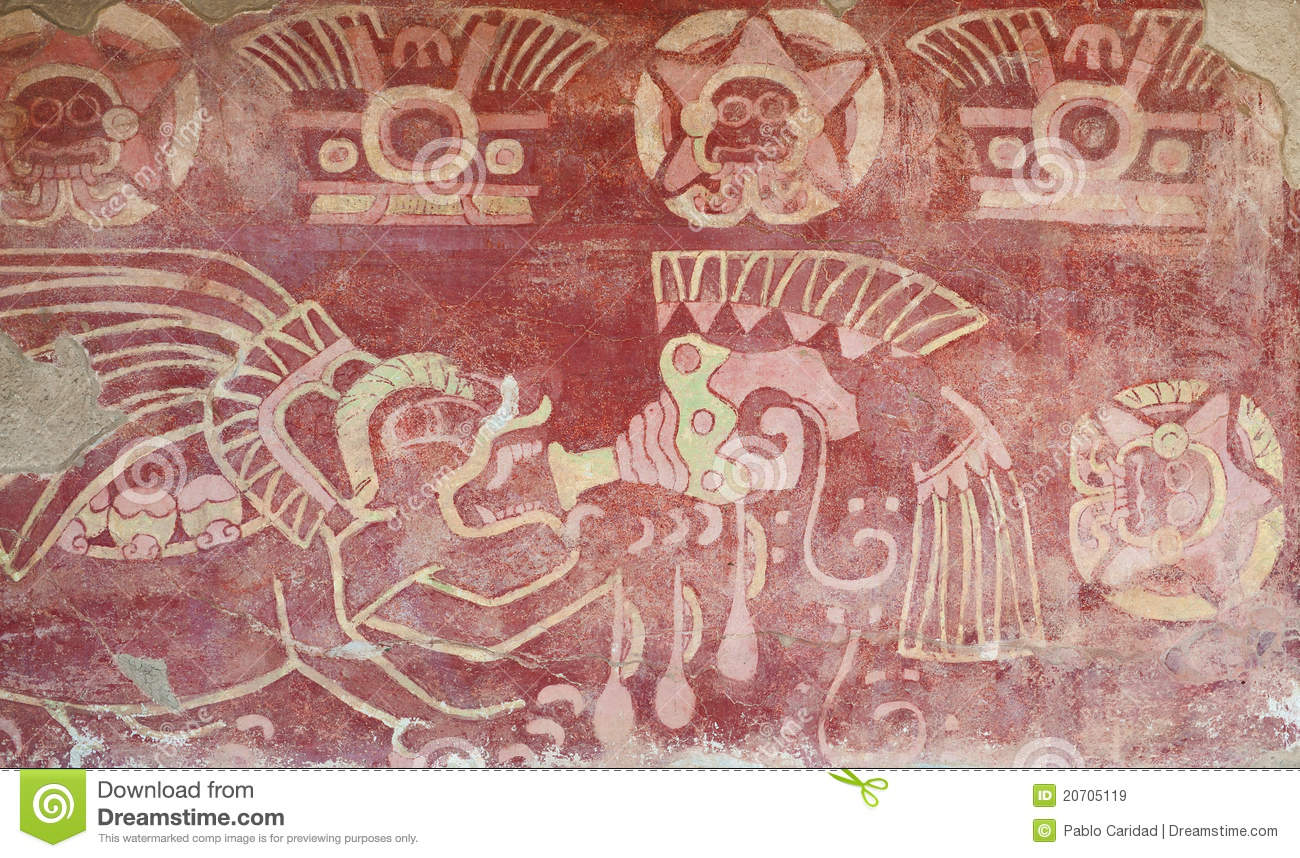 Gemalter Innenraum des Tempels in Teotihuacan.