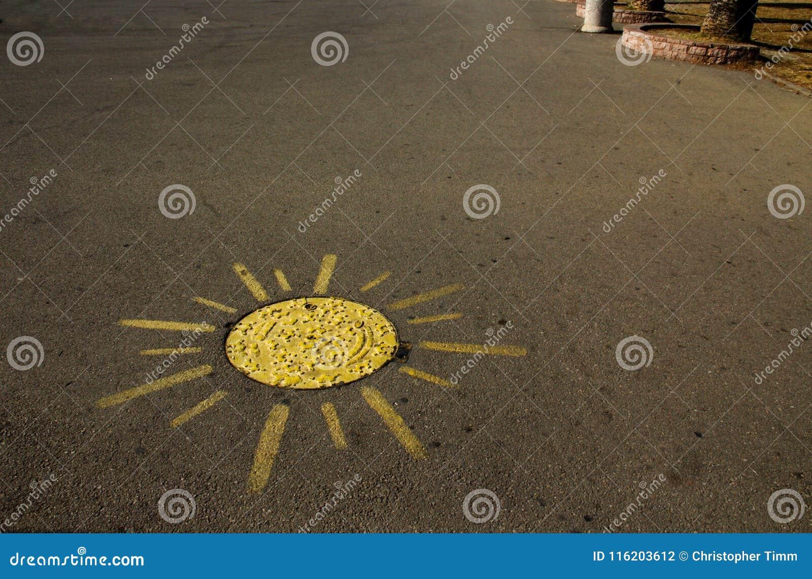 Gemaltes Gelb und Aussehung wie eine Sonne