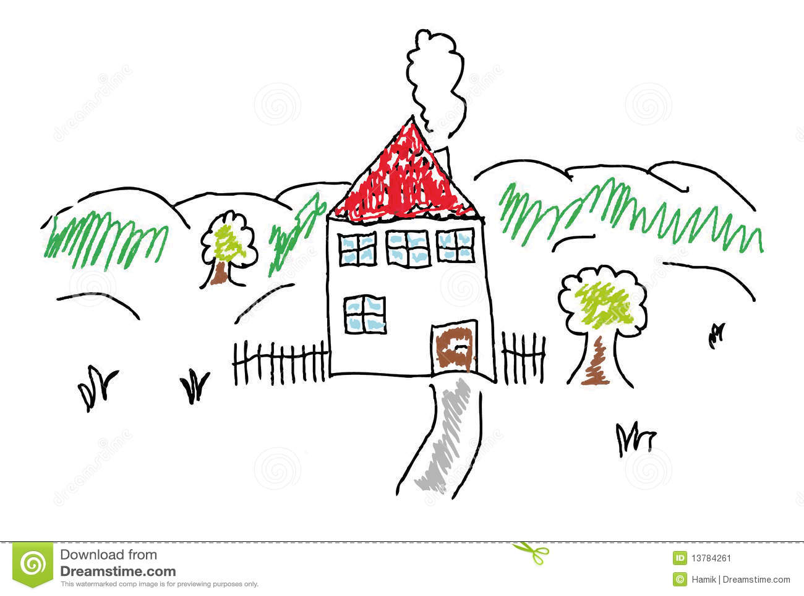 gemaltes haus stockbild bild 13784261. Black Bedroom Furniture Sets. Home Design Ideas