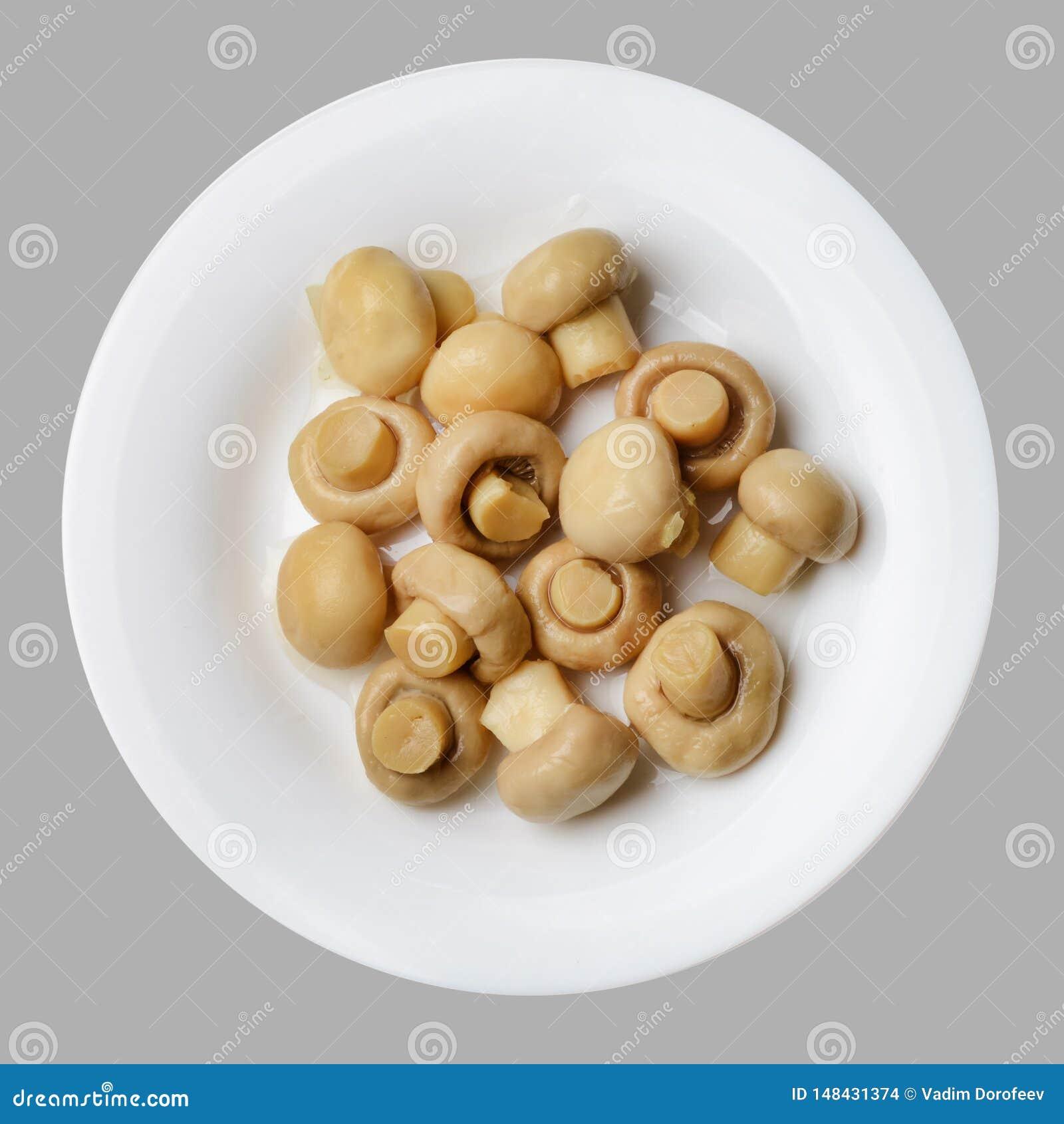Gemarineerde champignons op een witte ronde plaat Lichtgrijze ge?soleerde achtergrond Hoogste mening