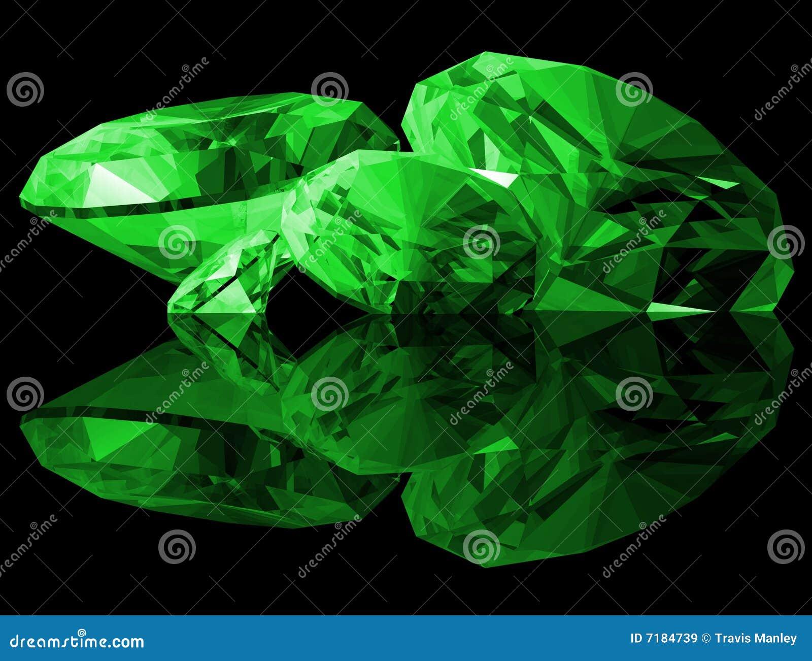 Gemas da esmeralda 3d isoladas