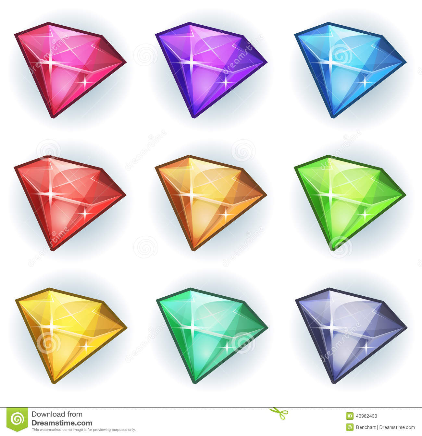 Gemas de la historieta e iconos de los diamantes fijados
