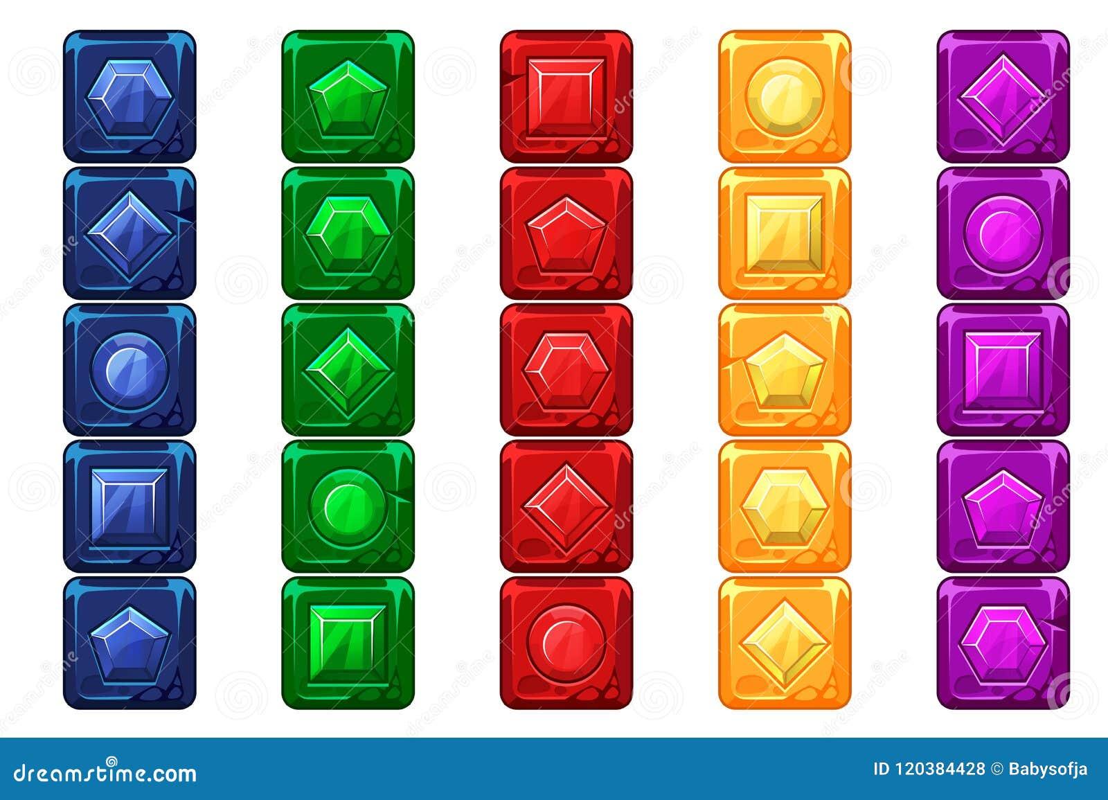 Gemas dos desenhos animados, botões de pedra multi-coloridos para o jogo de Ui