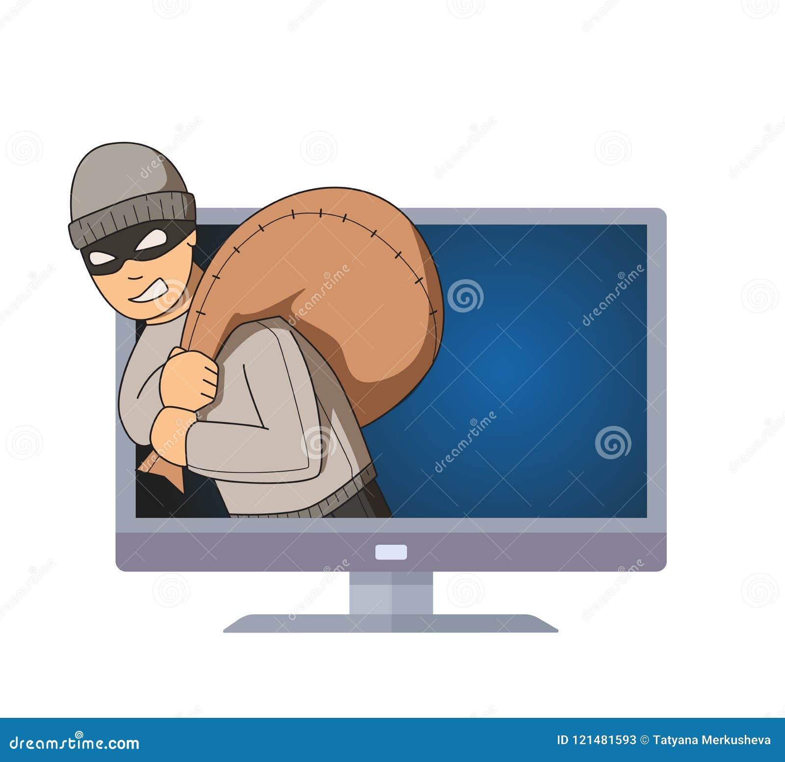 Gemaskeerde inbreker die uit de monitor met zak op zijn schouder springen Misdadig karakter op TV Vlakke vectorillustratie